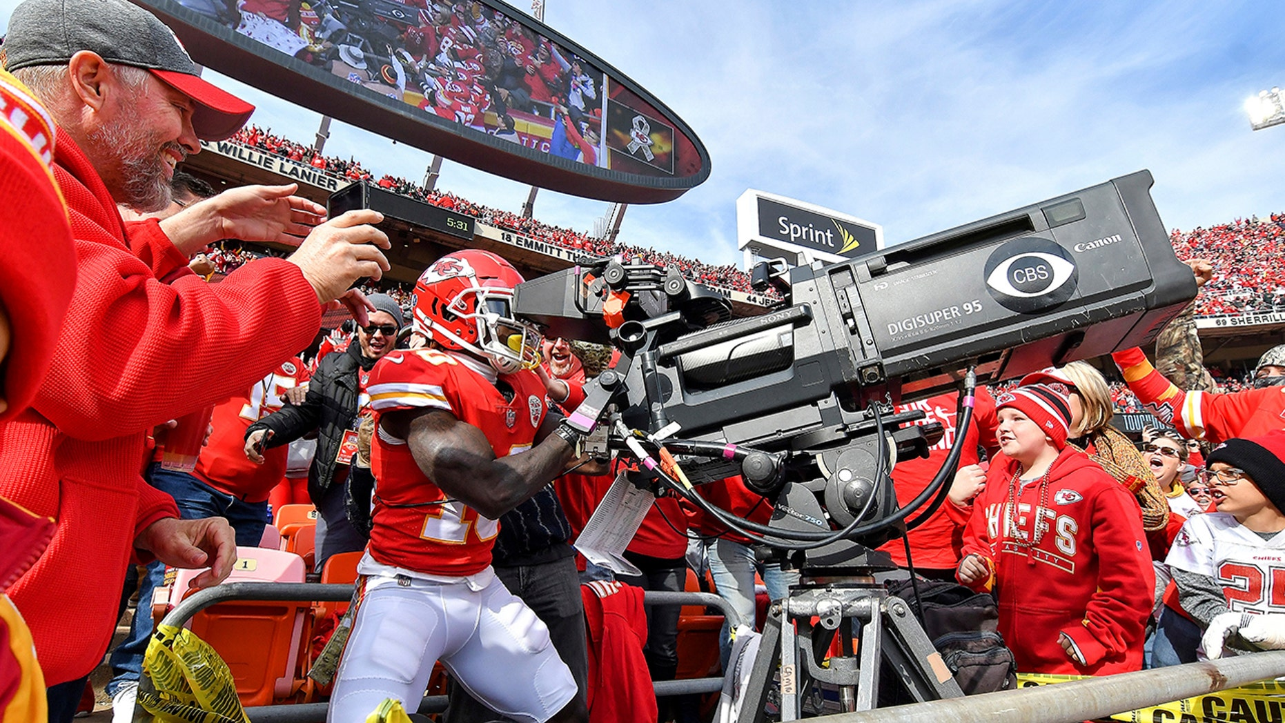 Kansas City Chiefs wide receiver Tyreek Hill takes control of the end zone television camera after scoring a touchdown on a pass from quarterback Patrick Mahomes in the second quarter of an NFL football game against the Arizona Cardinals Sunday, Nov. 11, 2018 at Arrowhead Stadium in Kansas City, Mo.