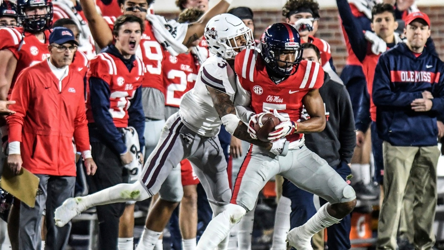 Four players were ejected from the Egg Bowl between Ole Miss and Mississippi State after a fight on Thursday, Nov. 22, 2018.
