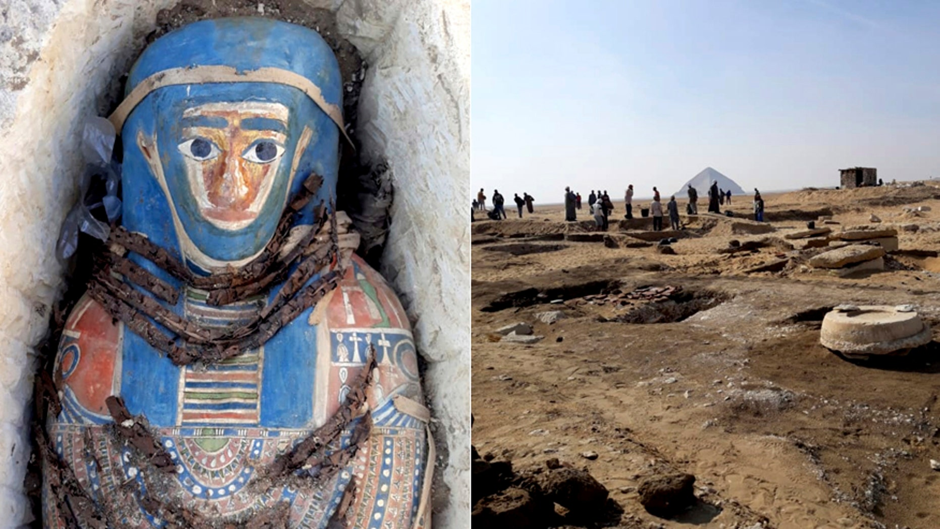 One of the painted mummies and the excavation site (Egyptian Ministry of Antiquities via AP)