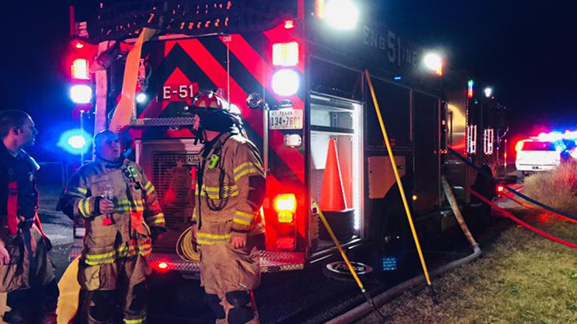 A Texas family of eight was rescued from a fire in their mobile home.