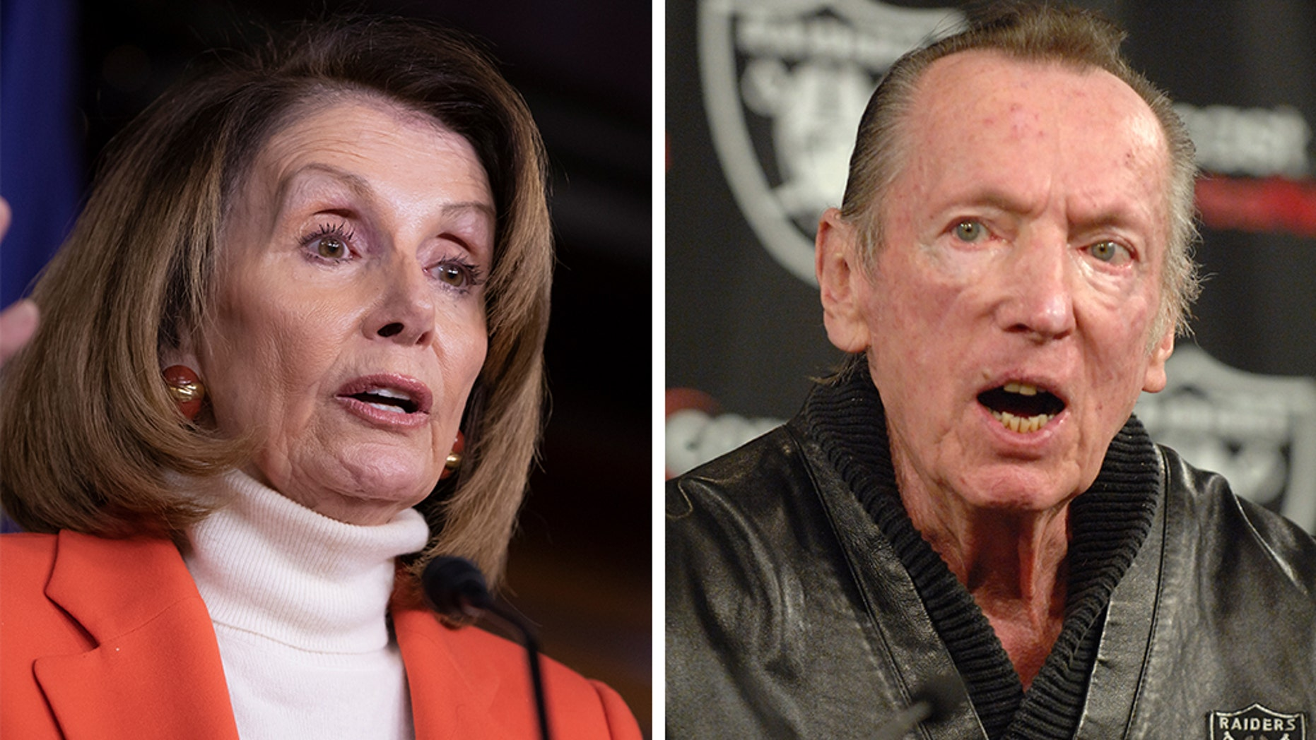 House Democratic leader Nancy Pelosi and Al Davis, the longtime owner of the Oakland/Los Angeles Raiders.