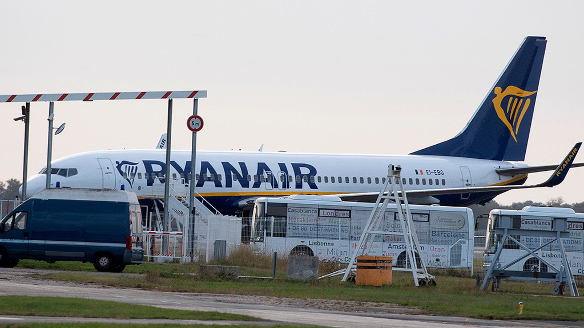 A Ryanair plane sits on the asphalt at Bordeaux-Merignac airport in southwest France on Friday after being shot by French authorities.