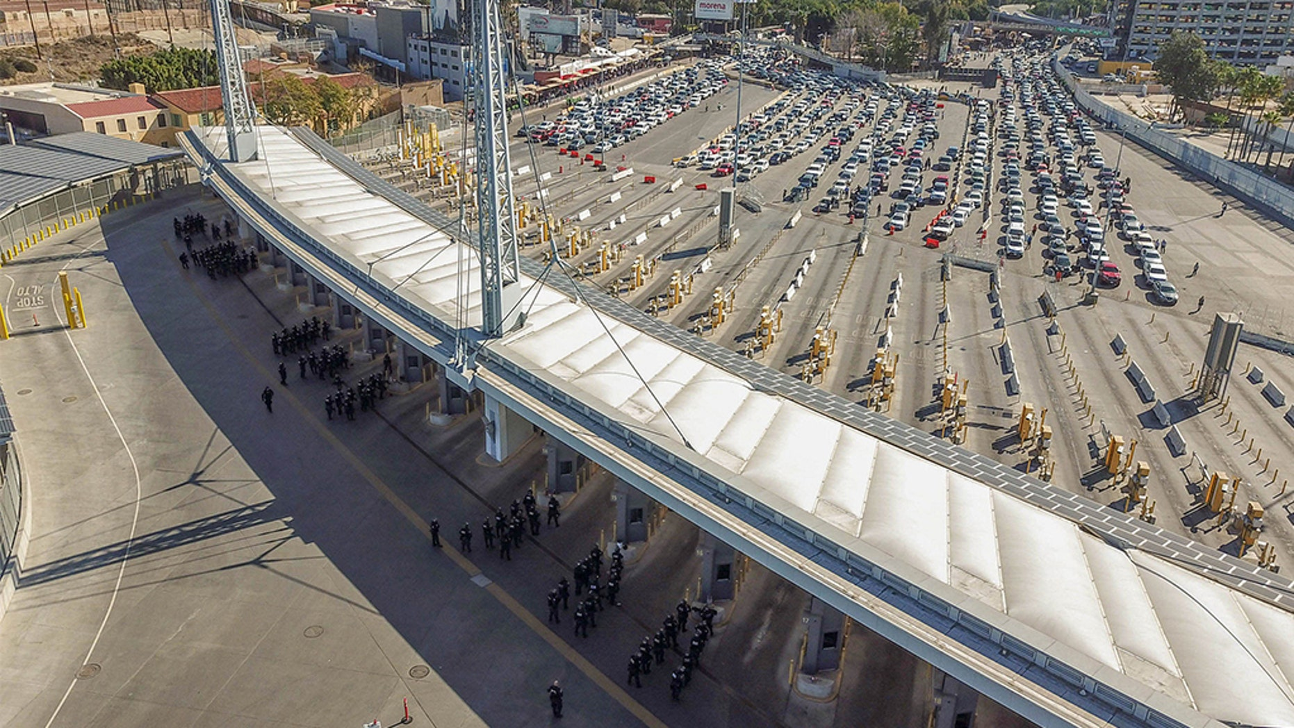 Personnel from  Customs and Border Protection and the Defense Department  secure the San Ysidro Port of Entry against attempts to illegally enter the United States from Mexico.