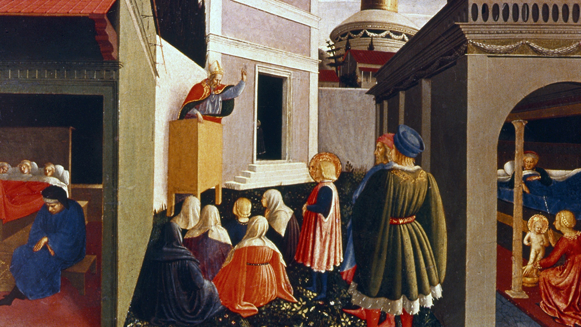 The Story Of St. Nicholas. Fresco by Fra Angelico (c1400-55) Italian painter. Date: 1447-1448; Style: Early Renaissance; Perugia Triptych. Media: tempera, panel. (Photo by: Universal History Archive/UIG via Getty Images)