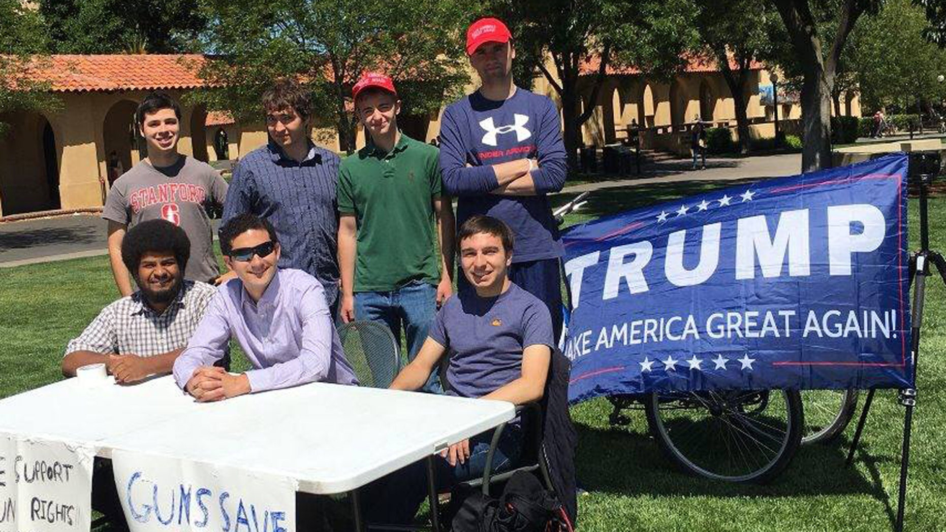 "The Stanford College Republicans holding a ""Change My Mind"" tabling event on campus."