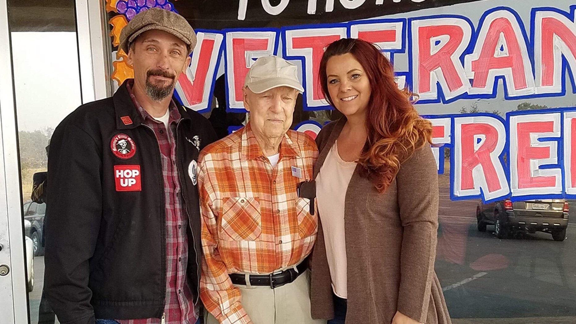 Lee Brundige, 93, was taken in by Tracy Grant and her boyfriend, Josh Fox.