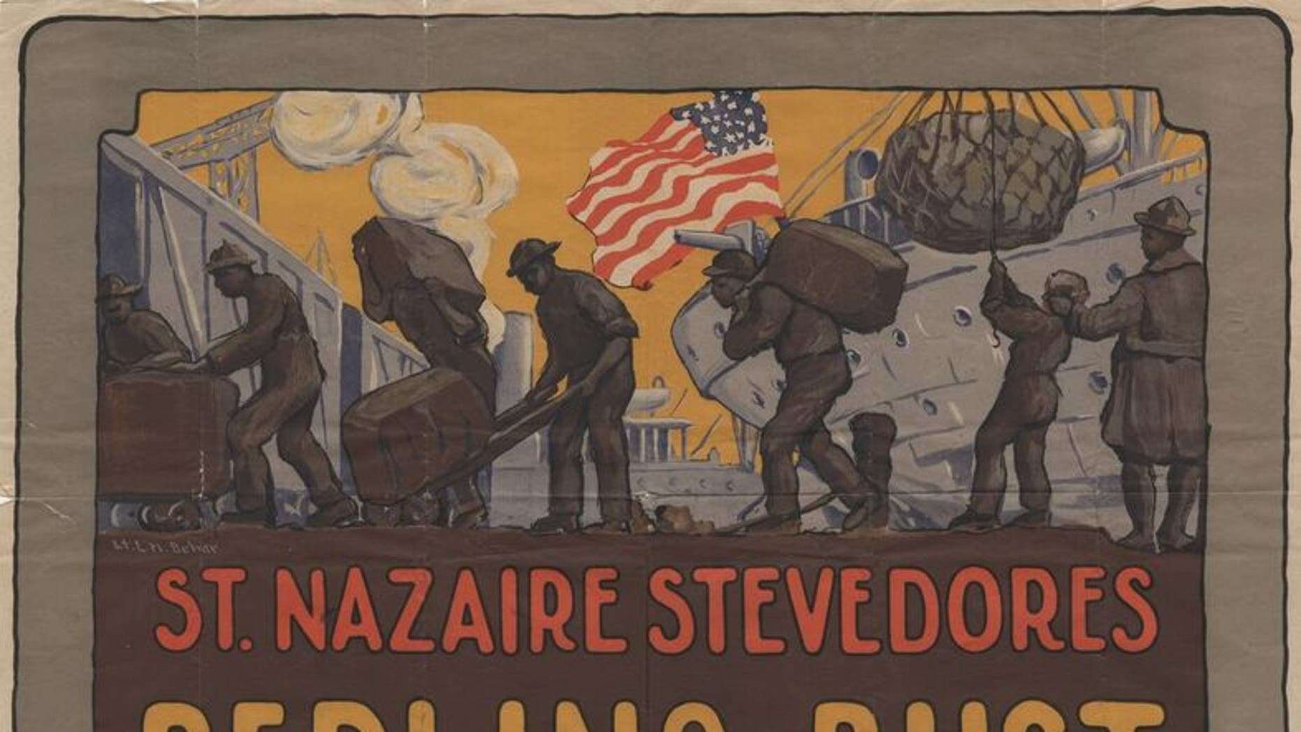 A poster depicting African-American soldiers in an Army stevedore company working on the docks of the French port of St. Nazaire.