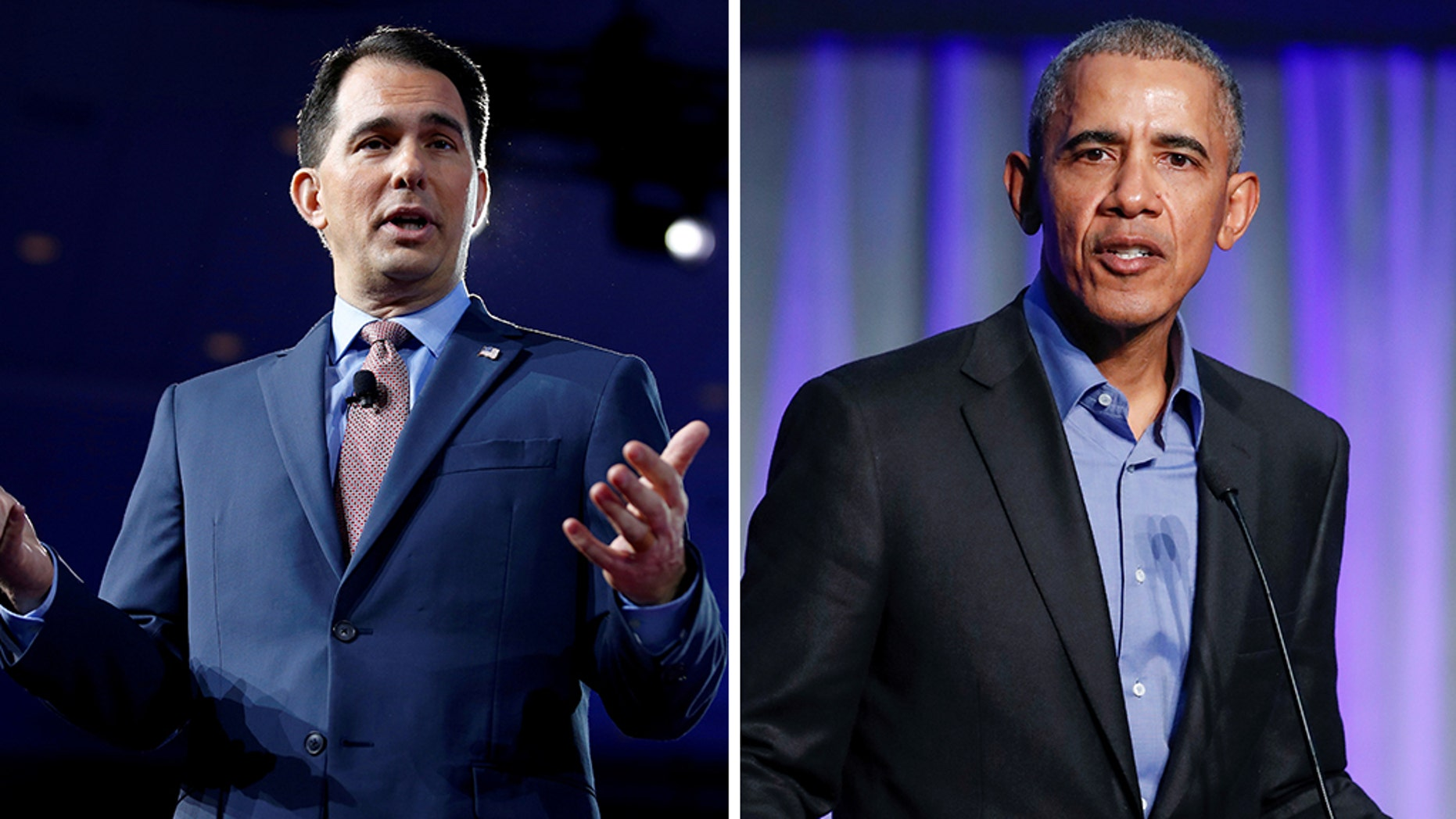 "Wisconsin Republican Gov. Scott Walker (left) on Thursday called former President Barack Obama (right) ""the biggest liar of the world."" (Reuters)"