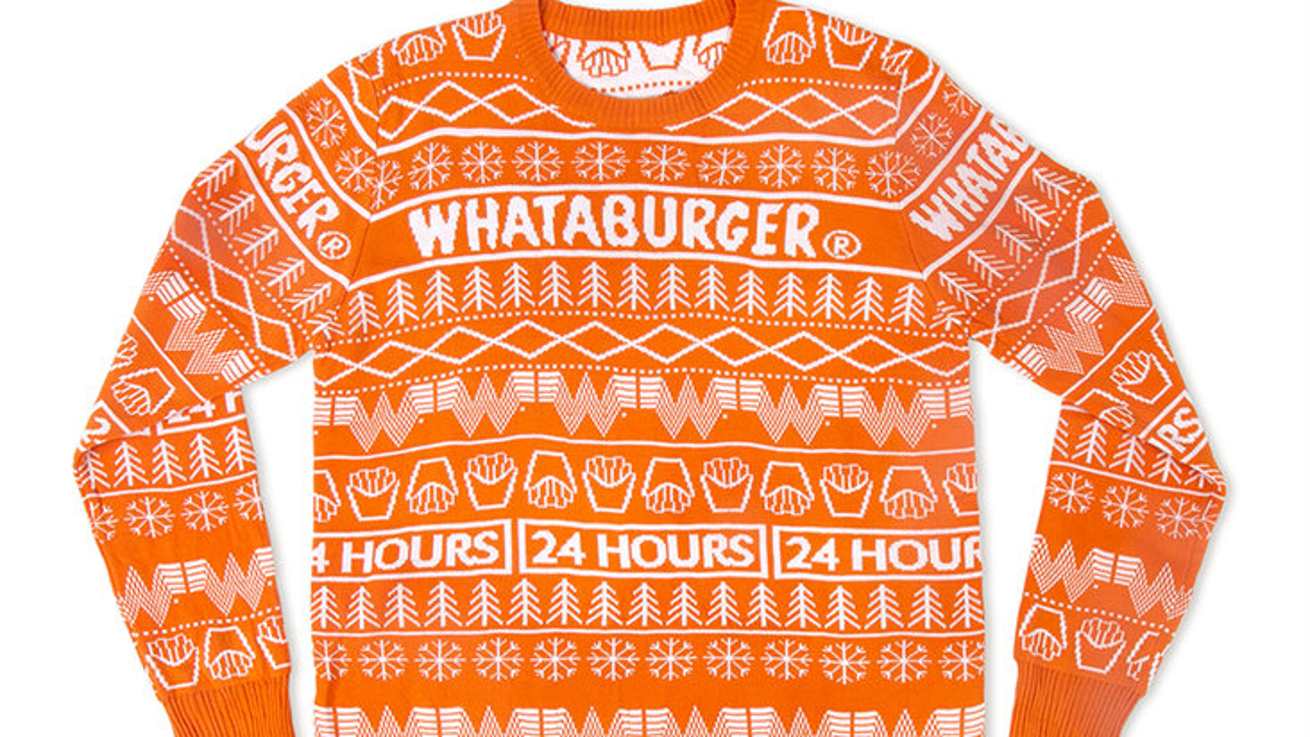 """This unisex Whataburger Christmas sweater is perfect for any holiday occasion — including eating at Whataburger,"" the chain writes."