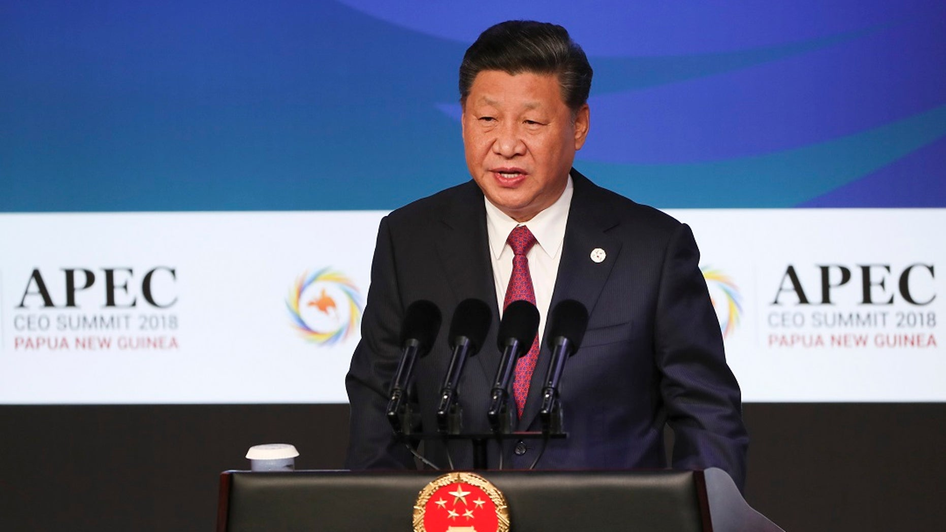 China's President Xi Jinping speaks during the APEC CEO Summit 2018 in Port Moresby, Papua New Guinea.