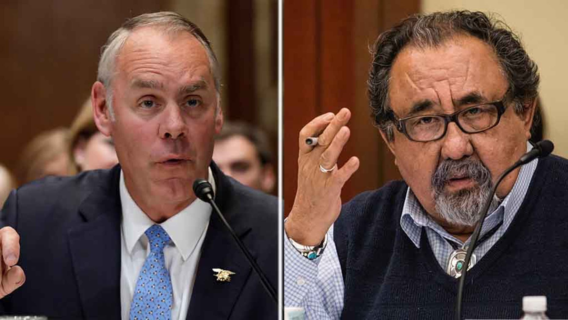 "Interior Secretary Ryan Zinke (left) ripped into Arizona Democratic Rep. Raúl Grijalva (right) on Friday and accused him of past ""drunken and hostile behavior"" after the lawmaker called for the Cabinet member's resignation earlier in the day. (REUTERS/AP)"
