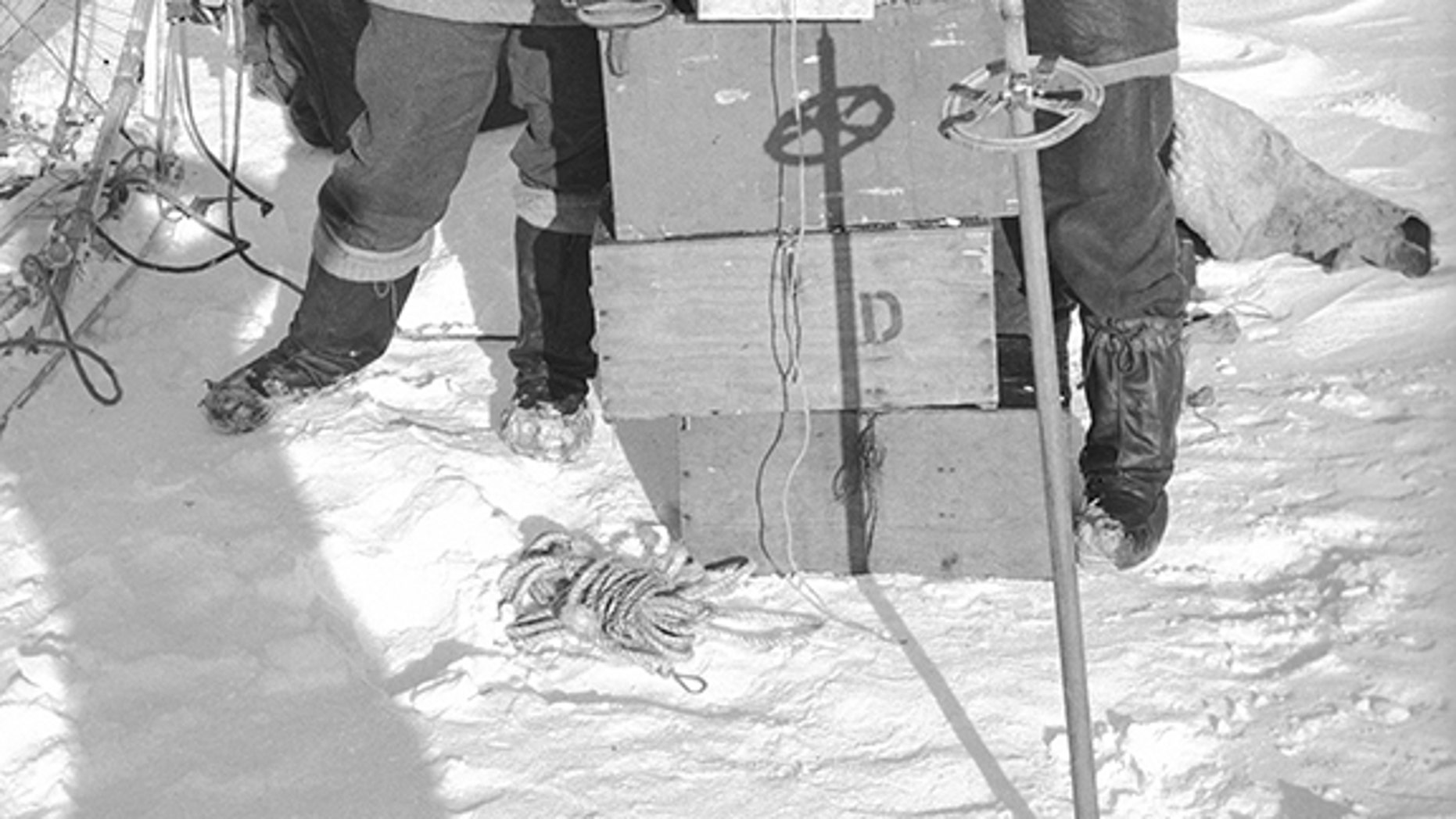 The end of the first sledge journey from Hope Bay: Victor Russell and David James. Launched in 1943, Operation Tabarin was an expedition to secretly establish bases, keep a watchful eye on German and Japanese activities, and curb opportunistic Argentinian incursions. (Credit: Natural Environment Research Council)