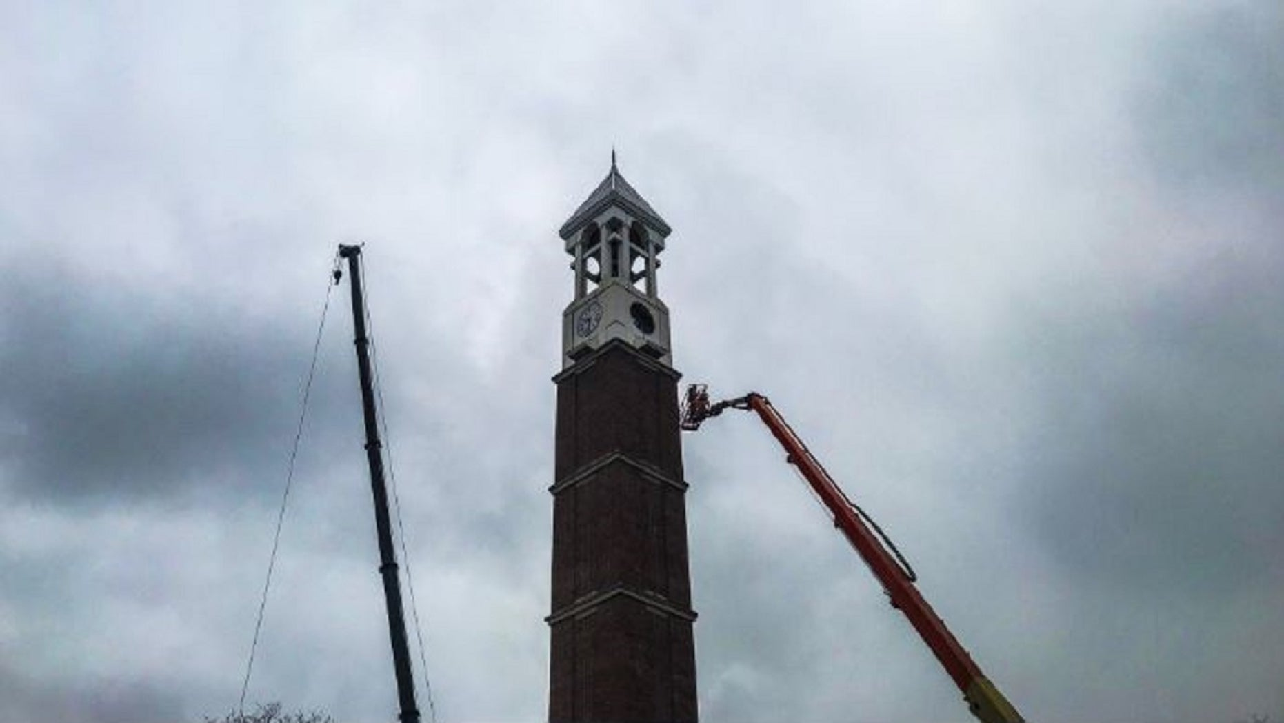 A clock on the Purdue University Bell Tower fell to the ground Tuesday. Fortunately, no injuries were reported.