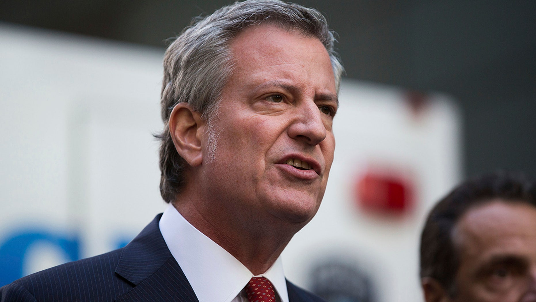 New York City Mayor Bill de Blasio forgot to pay tribute to the victim's of last year's Halloween terror attack at their own memorial on Wednesday.