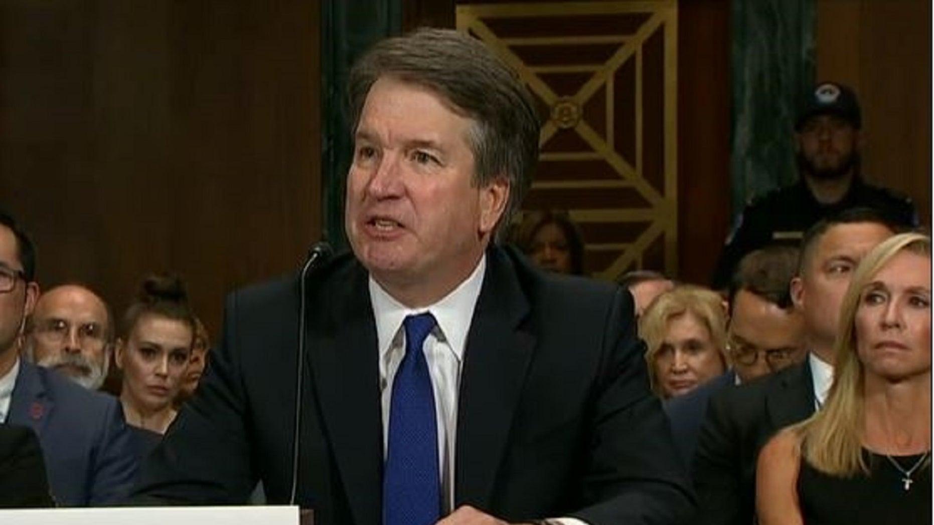 Brett Kavanaugh testifies before the Senate Judiciary Committee.