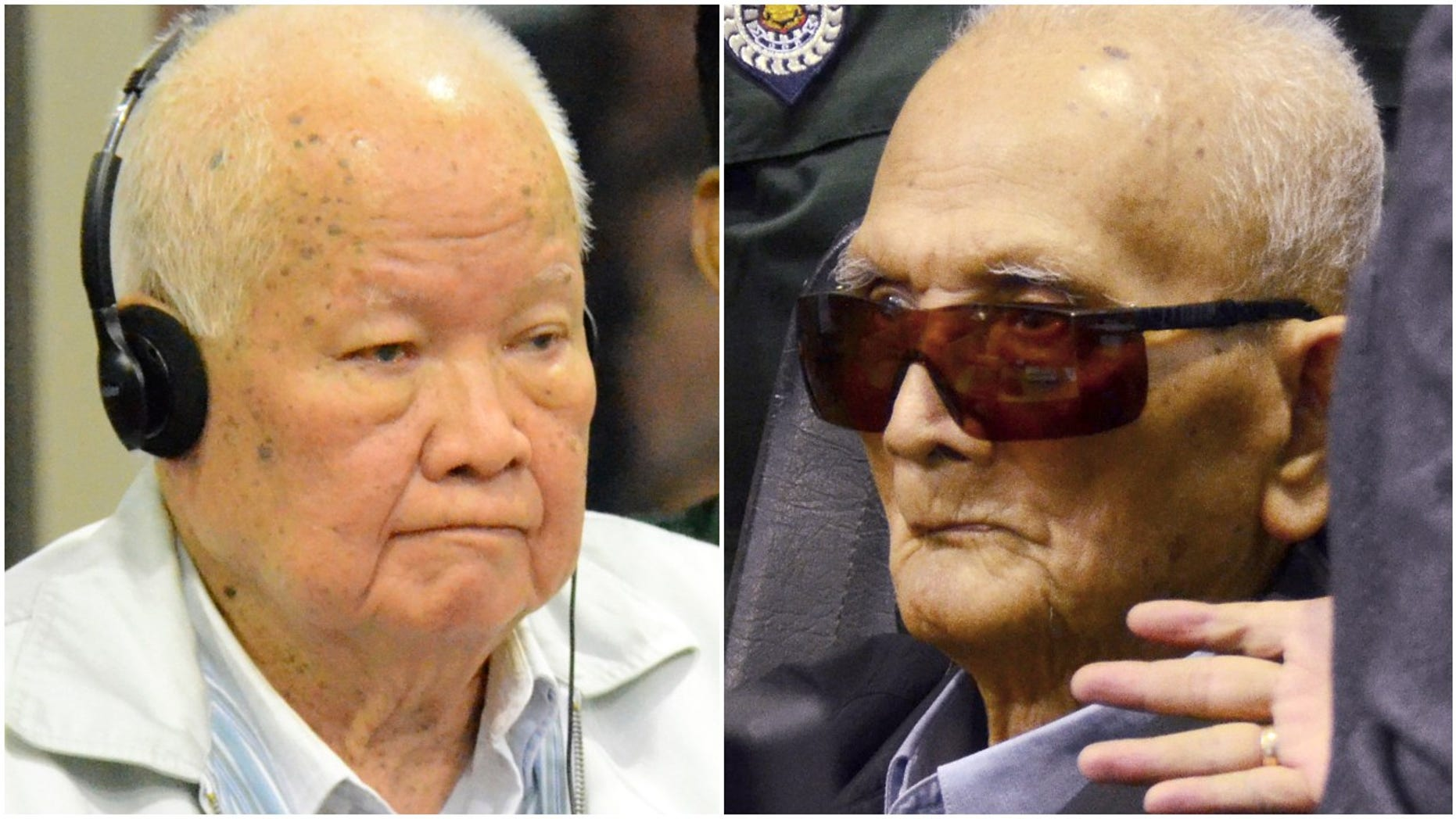 Khieu Samphan, left, former Khmer Rouge head of state, andNuon Chea, who was the Khmer Rouge's chief ideologist and No. 2 leader, were convicted of crimes against humanity Friday by an international tribunal. (Associated Press)