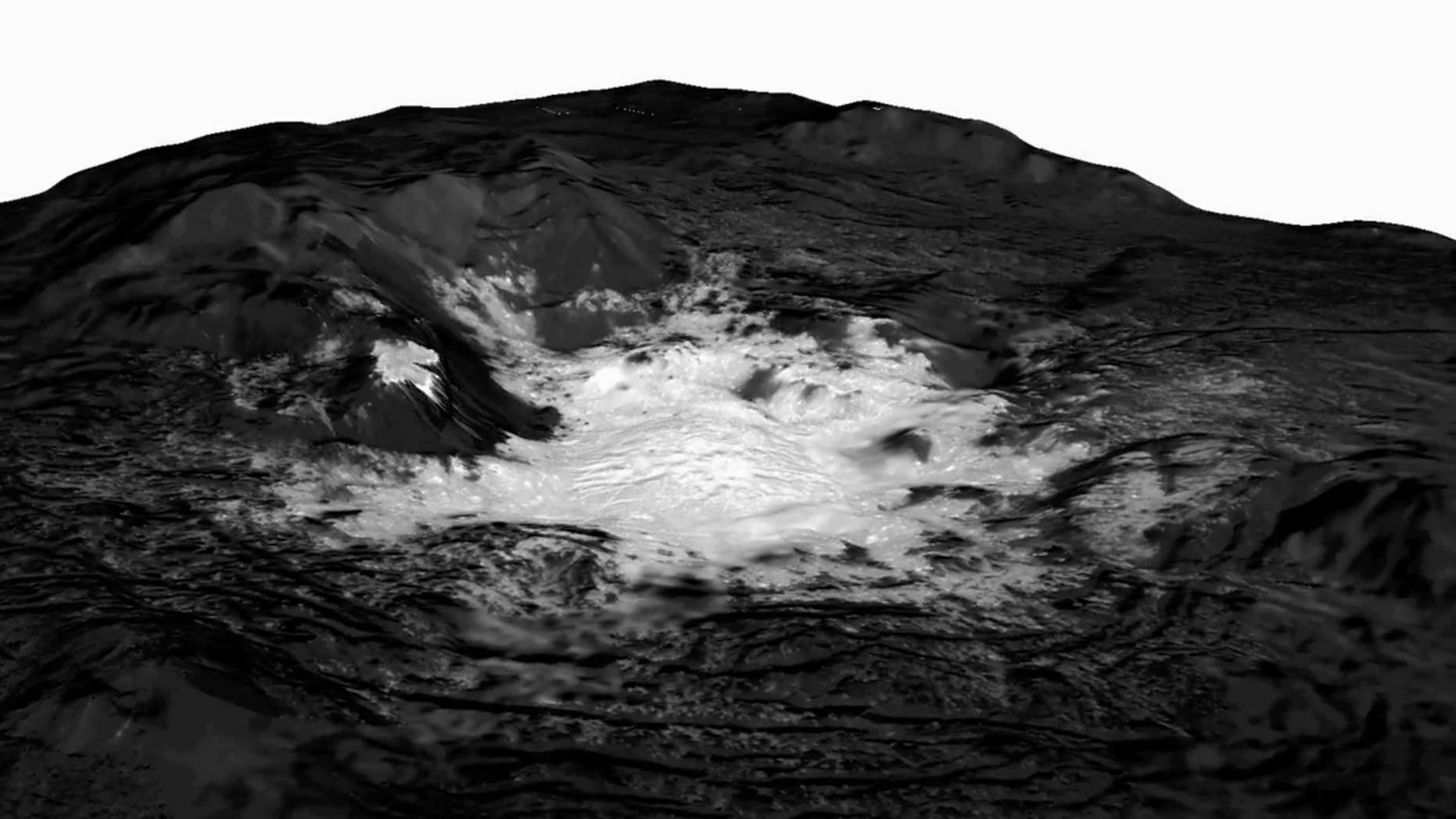 This mosaic of a bright spot on the dwarf planet Ceres known as Cerealia Facula combines images captured by NASA's Dawn spacecraft from altitudes as low as 22 miles (35 kilometers) above Ceres' surface. The mosaic is overlain on a topography model based on images obtained during Dawn's low-altitude mapping orbit (240 miles, or 385 km altitude). No vertical exaggeration was applied.