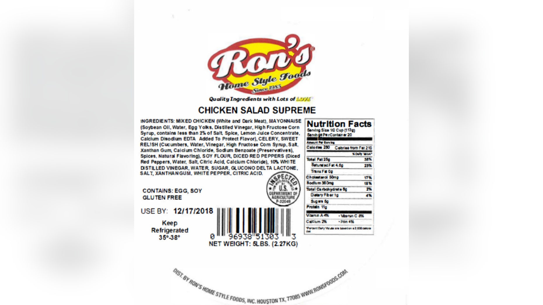 """The U.S. Department of Agricultureon Wednesday announcedthe recall by Ron's Home Style Foods.<br data-cke-eol=""""1"""">"""