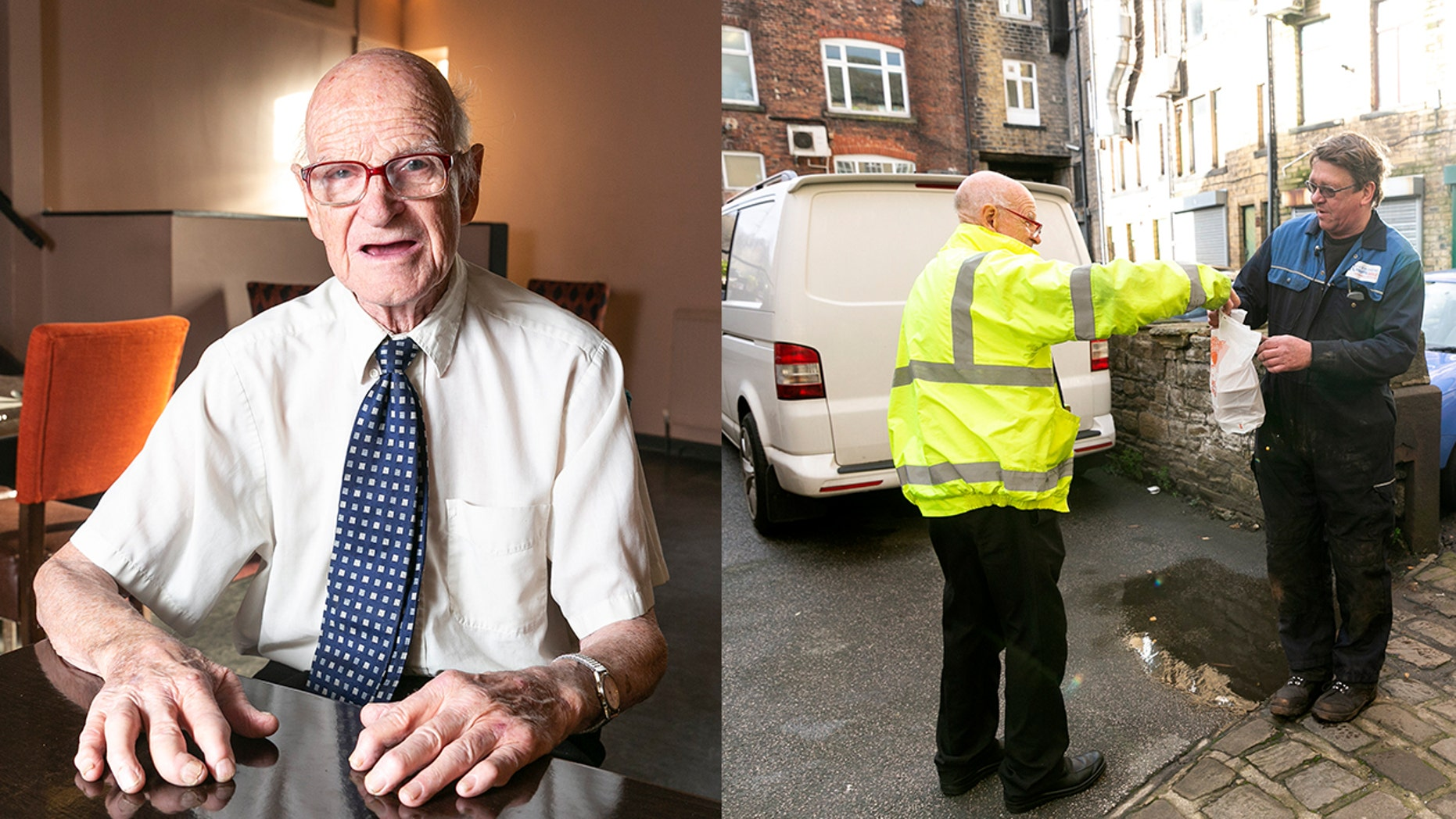 Dapper great-grandad Brian Loughans is believed to be Britain's oldest takeout delivery driver.