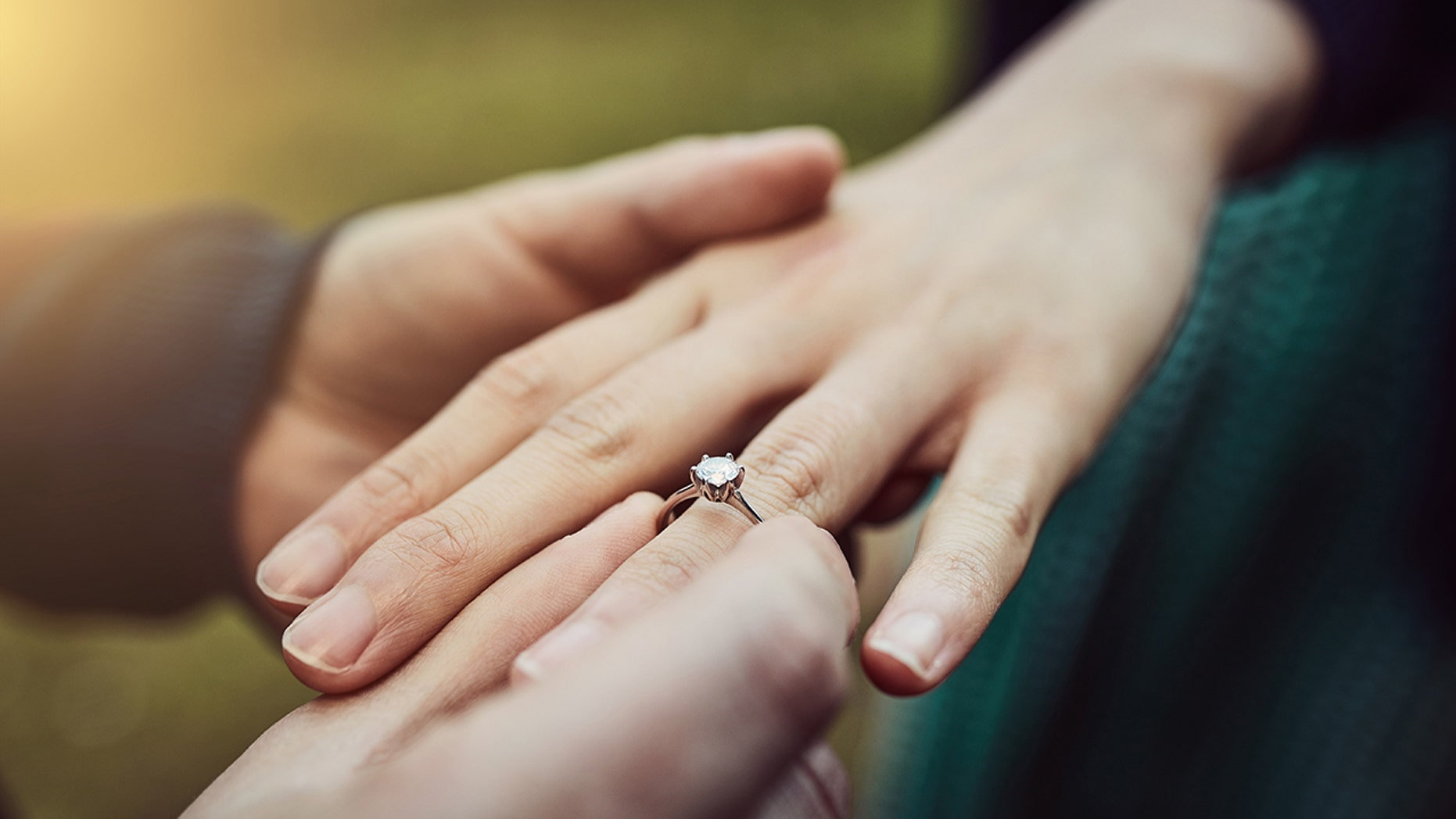 One woman lent a helping hand -- literally -- to her newly-engaged cousin.