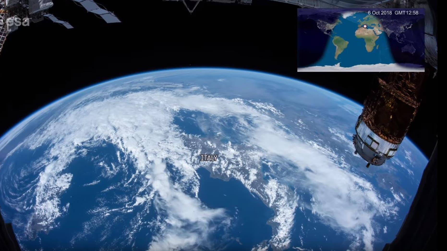 This YouTube screen grab shows Earth as viewed from the International Space Station.