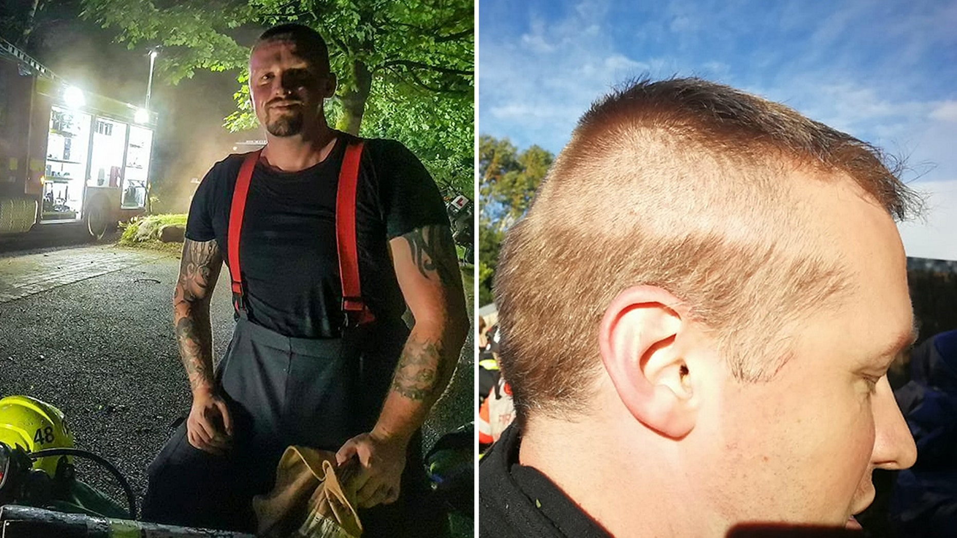 A firefighter got called out to an emergency mid-haircut, leaving him with an interestinglook.