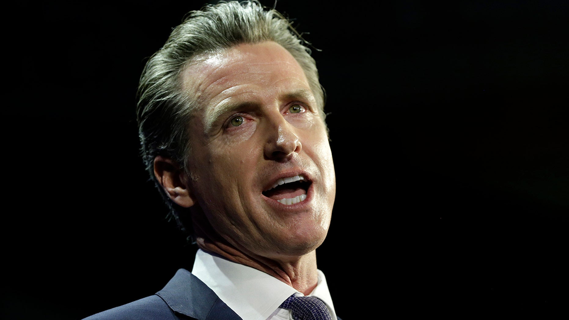 Lt. Gov Gavin Newsom, a Democrat, addresses an election night crowd after he defeated Republican John Cox to become the 40th governor of California Tuesday, Nov. 6, 2018, in Los Angeles. (AP Photo/Rich Pedroncelli)