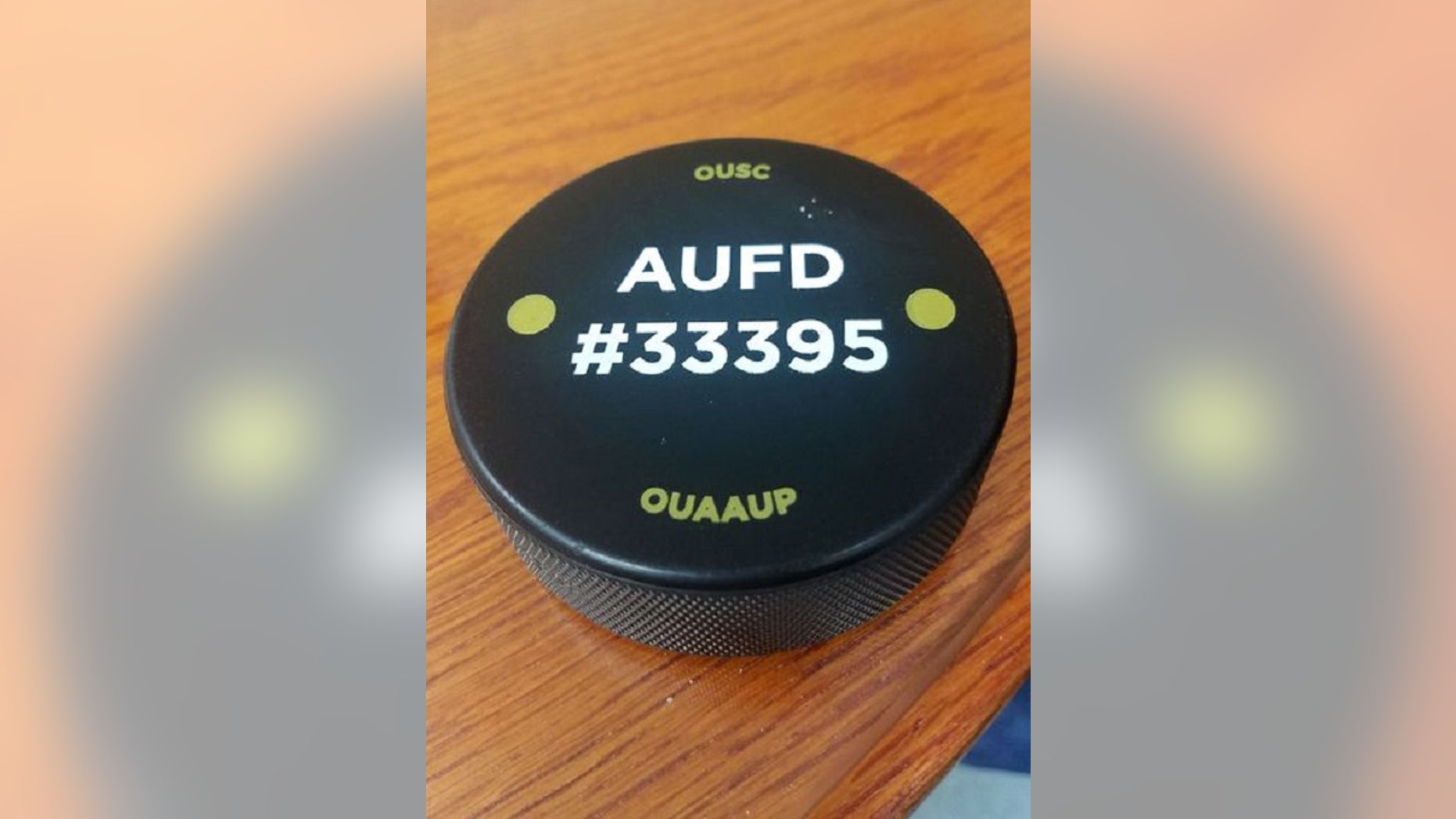 Hockey pucks are distributed at Oakland University in Michigan to protect students from active shooter situations, reports said Tuesday. AUFD refers to the All University Fund Drive.