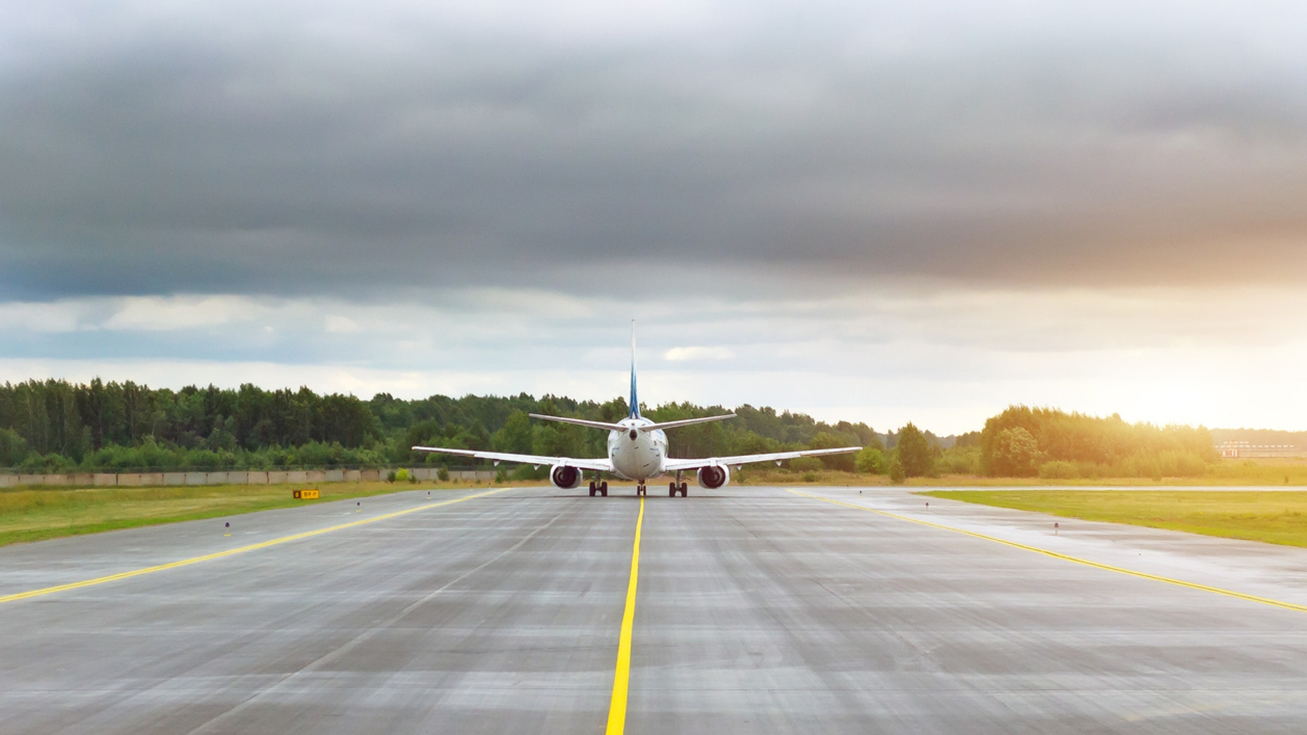 A woman thought she could make her flight if she just made it to the plane before takeoff.