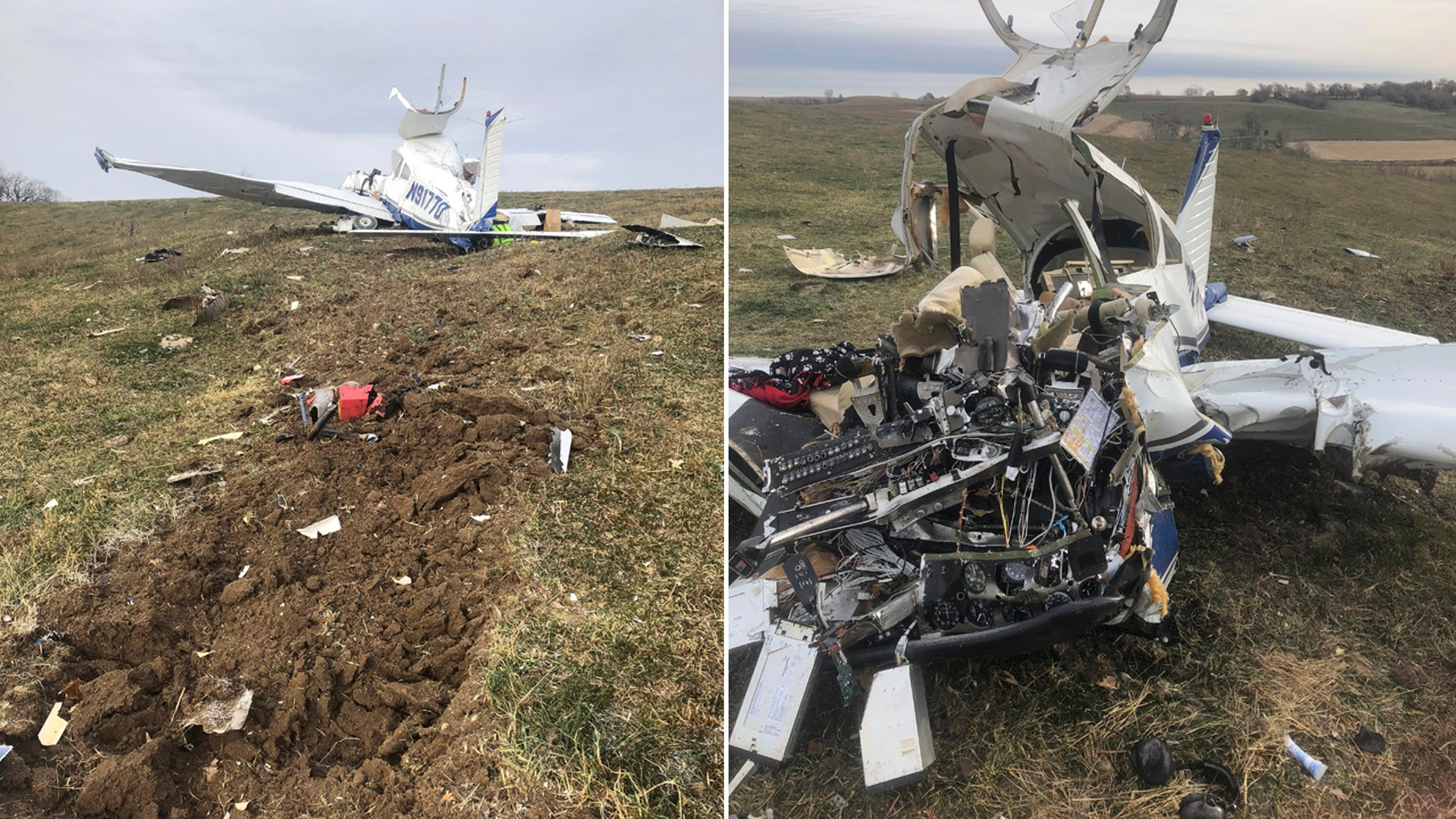 This Saturday photo provided by Guthrie County Sheriff's Department shows where a small plane crashed in central Iowa, killing all four people on board, including a teenage girl.
