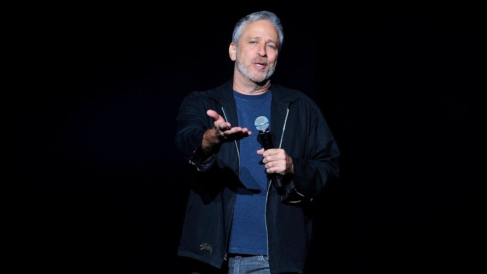 Comedian Jon Stewart discusses gun control at a benefit on Monday, Nov. 5, 2018.