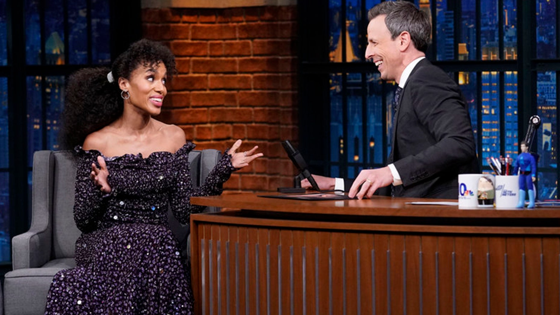 Actress Kerry Washington during an interview with host Seth Meyers on November 12, 2018.