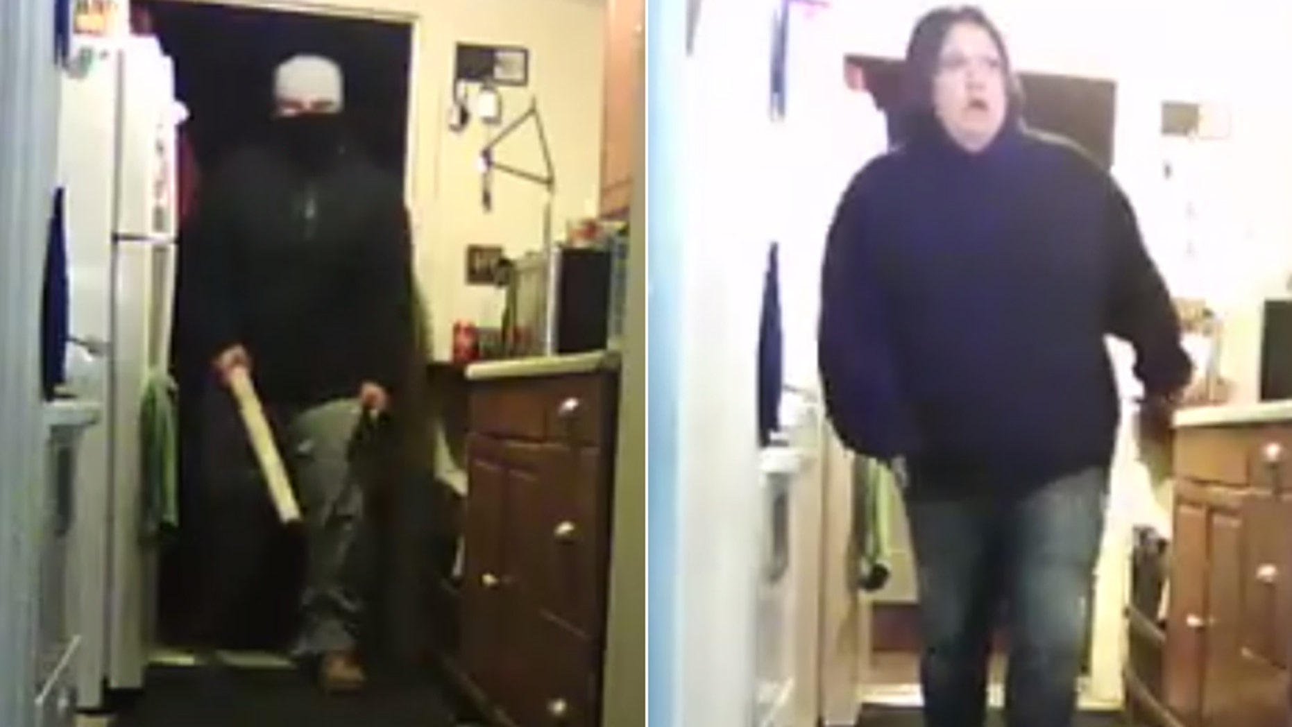 Police in Littlestown, Pa., are searching for two people suspected of breaking into a home and then attacking a man with a meat cleaver.