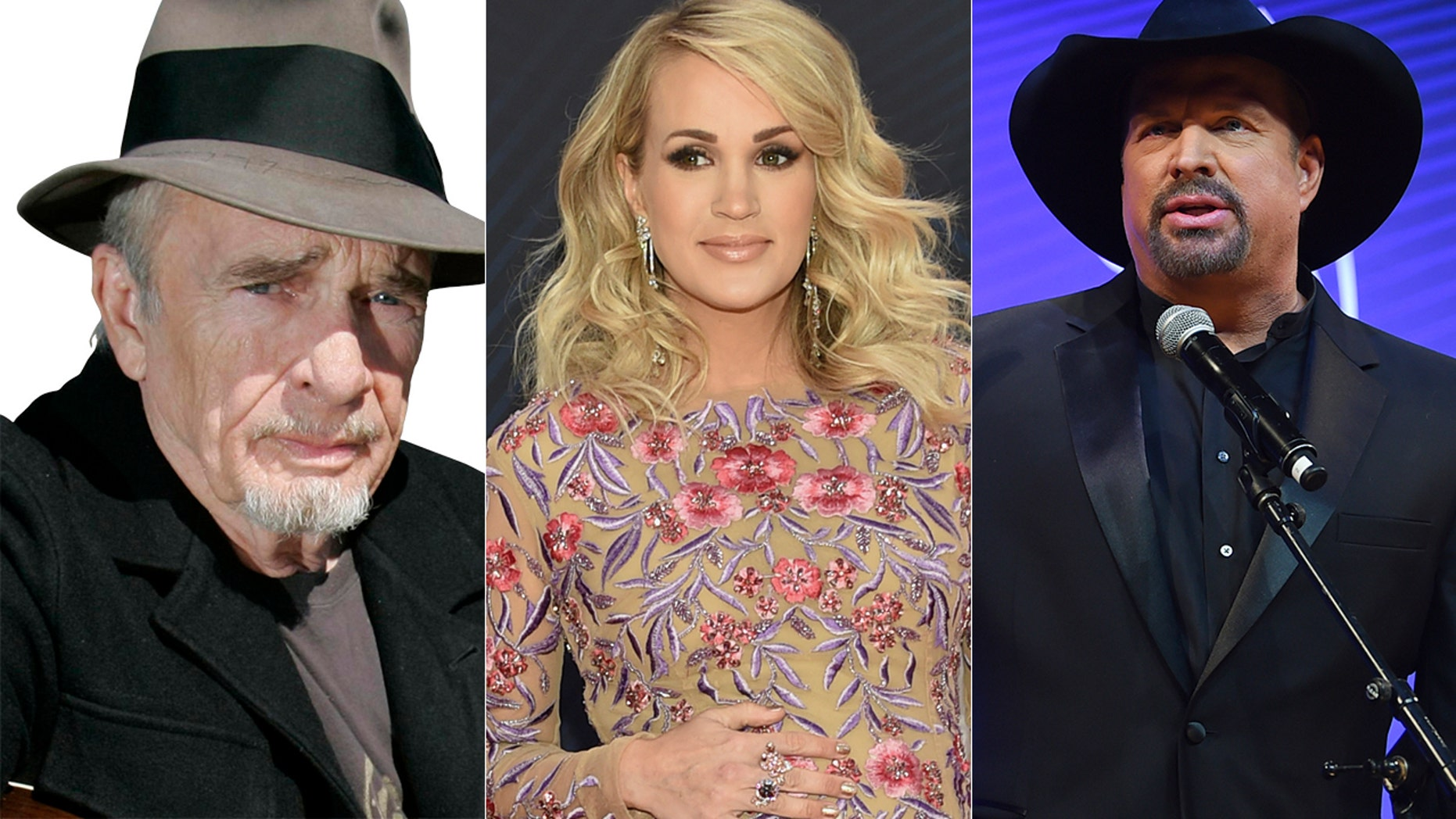 From l-r: Merle Haggard, Carrie Underwood and Garth Brooks are just a few country singers who got into trouble over their songs.