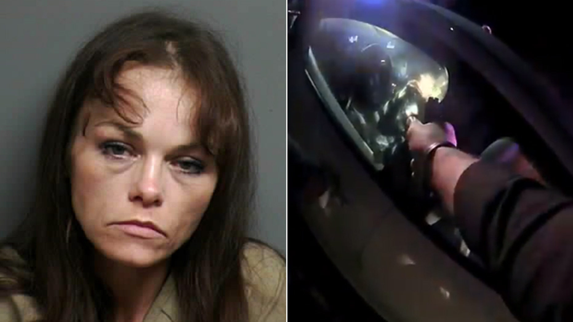 Kristi Rettig, police say, was captured on video reaching under her seat and then lighting a crack pipe after beingpulled over following a chase.