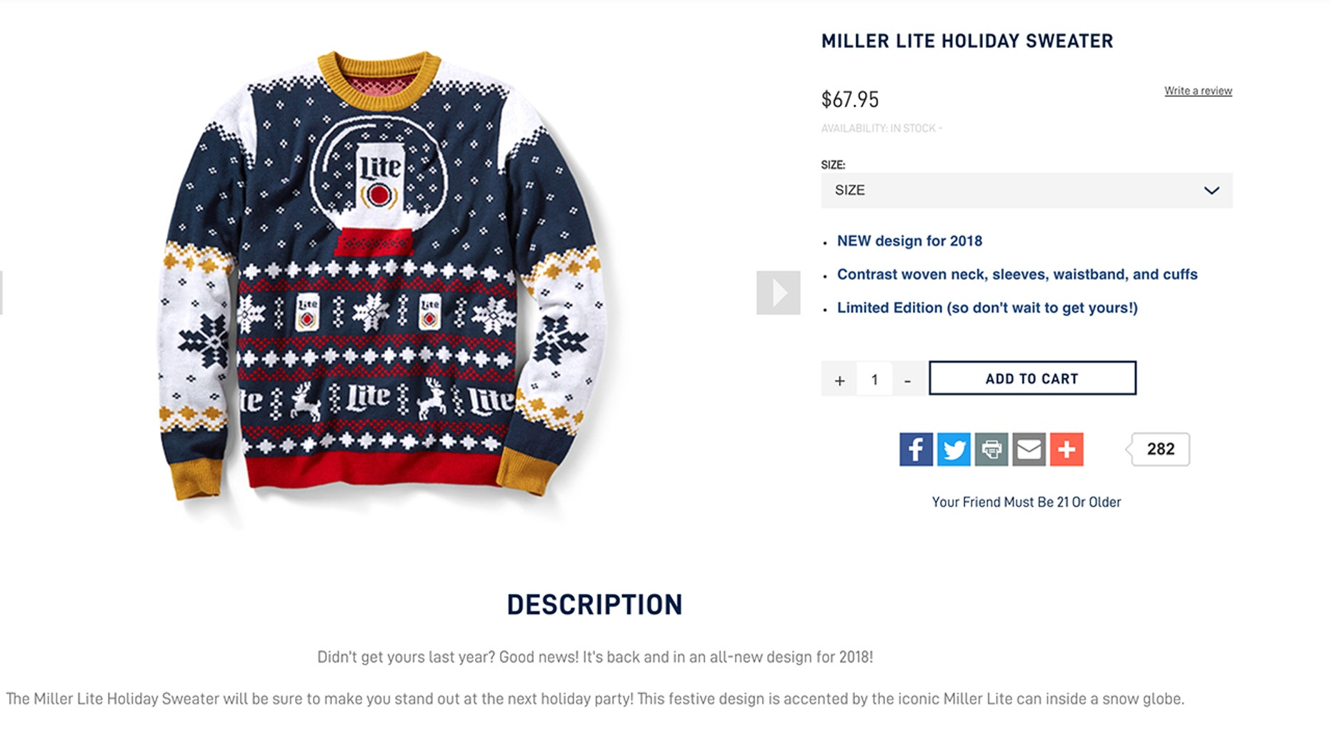 2555b36a5 Miller Lite releases 'ugly sweater' for 2018 holidays | Fox News