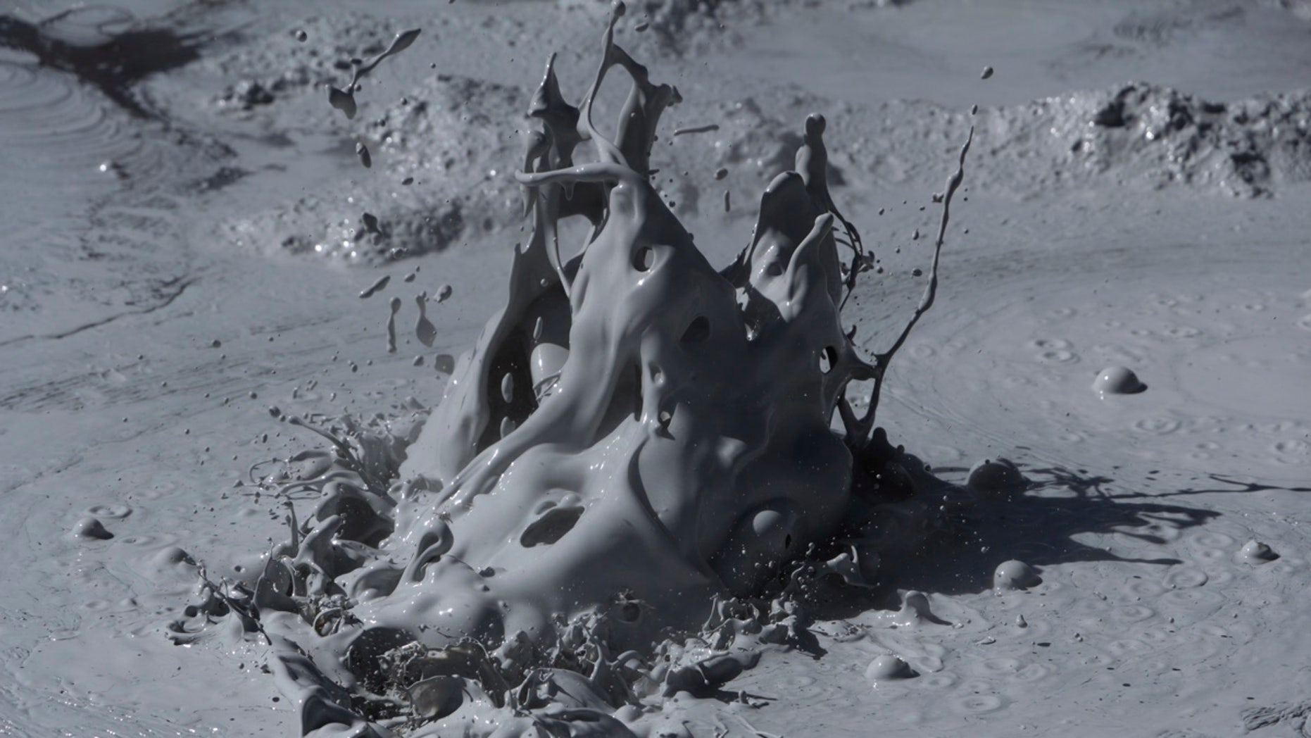 Bubbling mud, like the gurgle shown here, is threatening infrastructure in California.