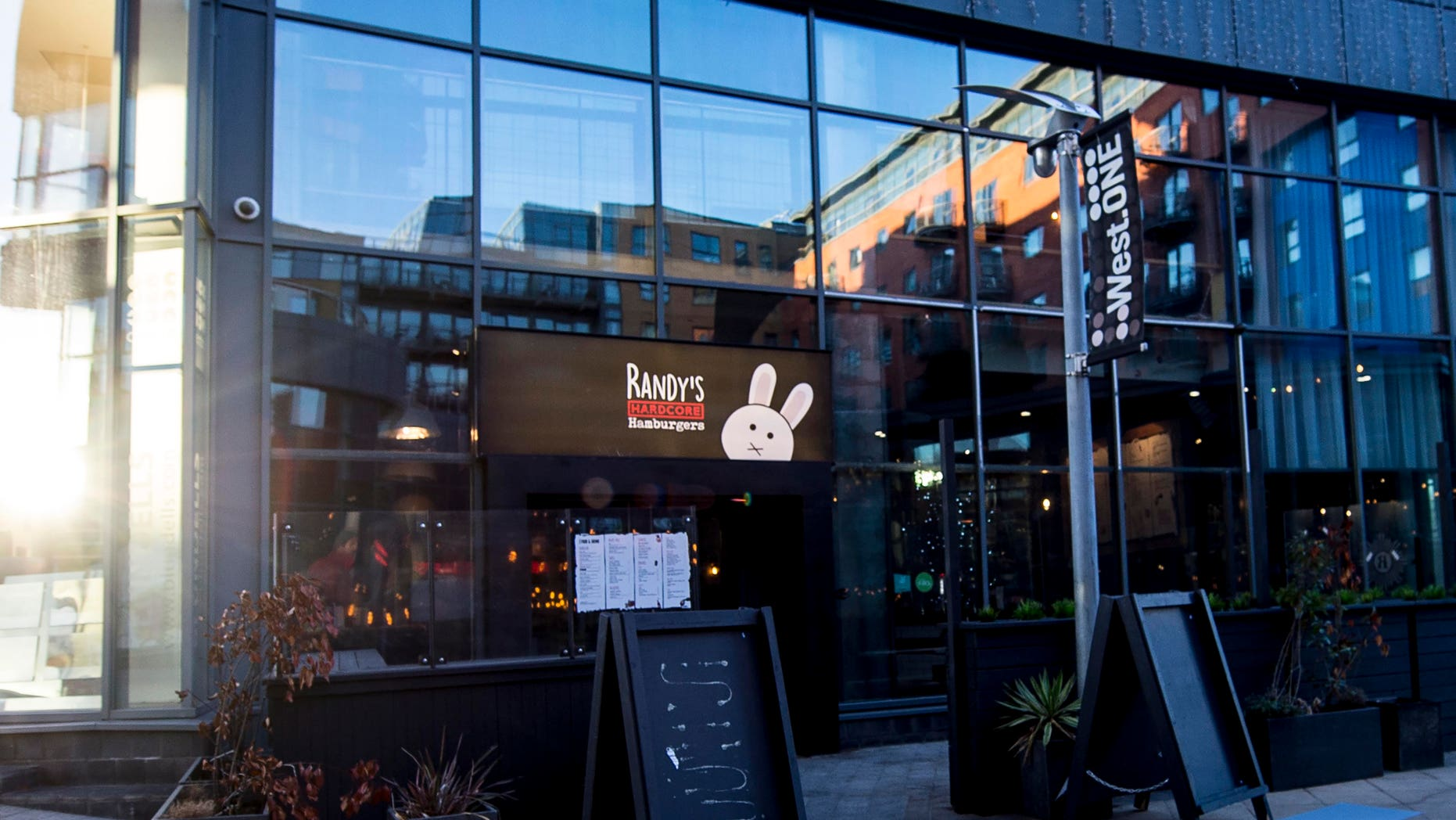 Randy's Hardcore Hamburger's grill in Sheffield city core where a Weinstein burger that has now been scribbled out off a menu was served progressing this week - 1st Nov 2018.