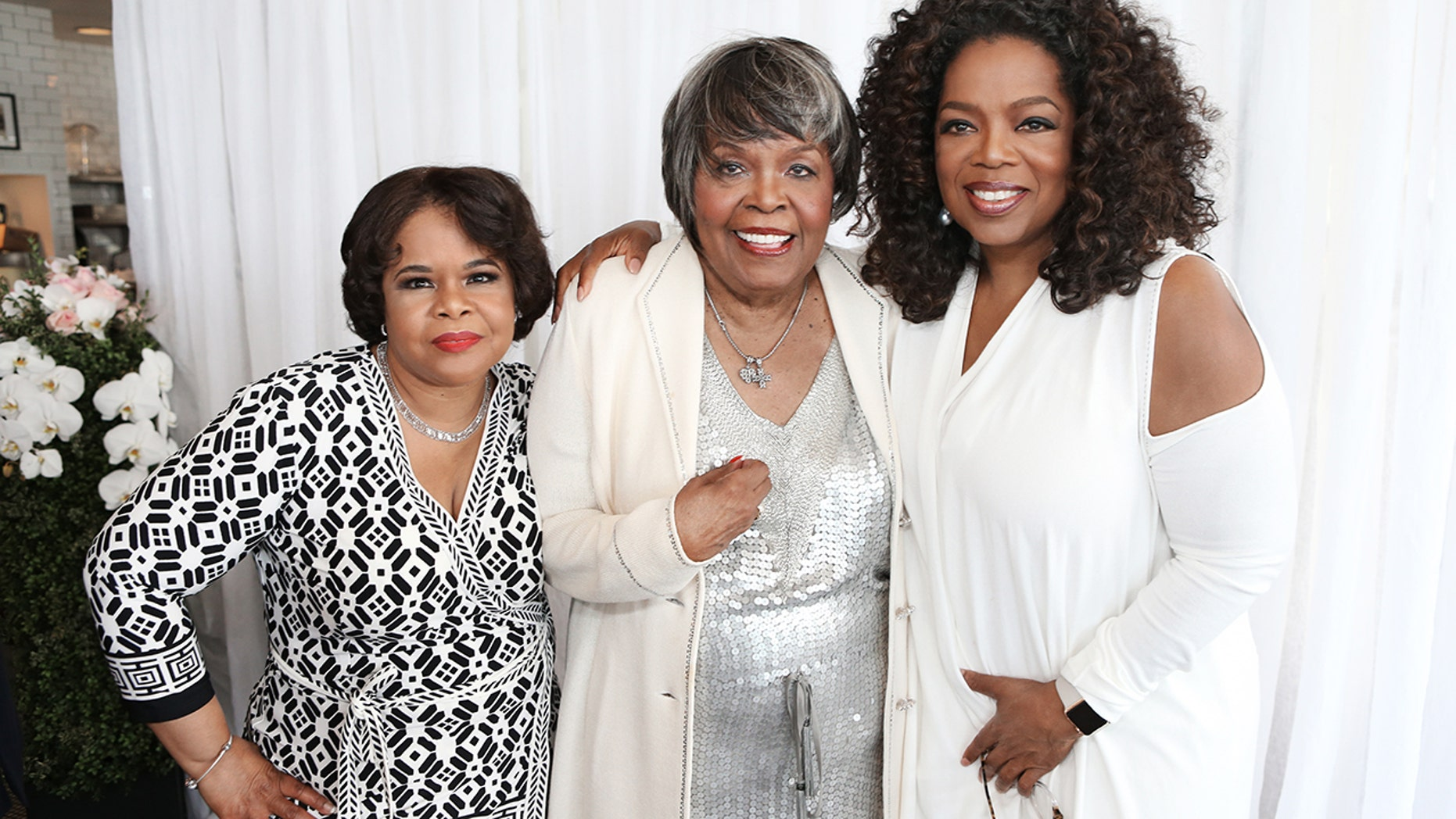 Vernita Lee, center, with her daughters Patricia Amanda Faye Lee, left, and Oprah Winfrey, right, at Vernita's 80th birthday party.