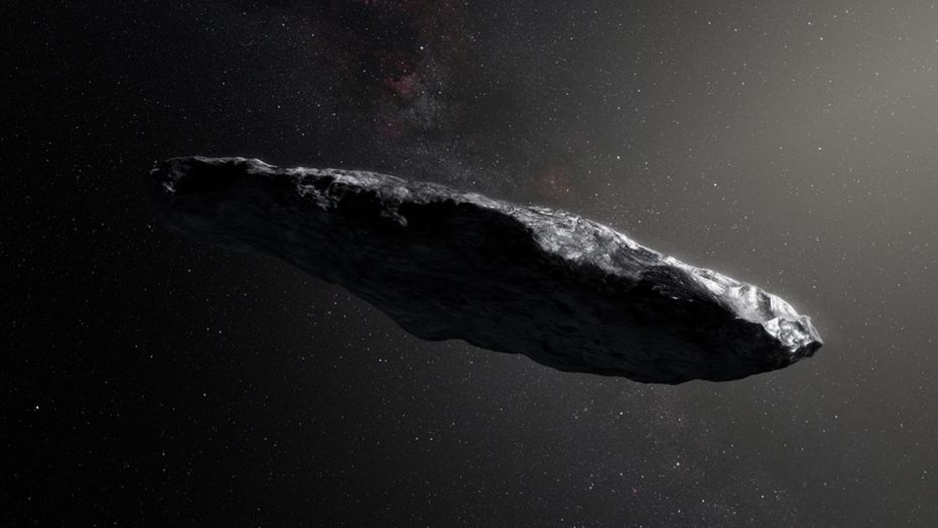 An artist's depiction of Oumuamua the first detected interstellar object