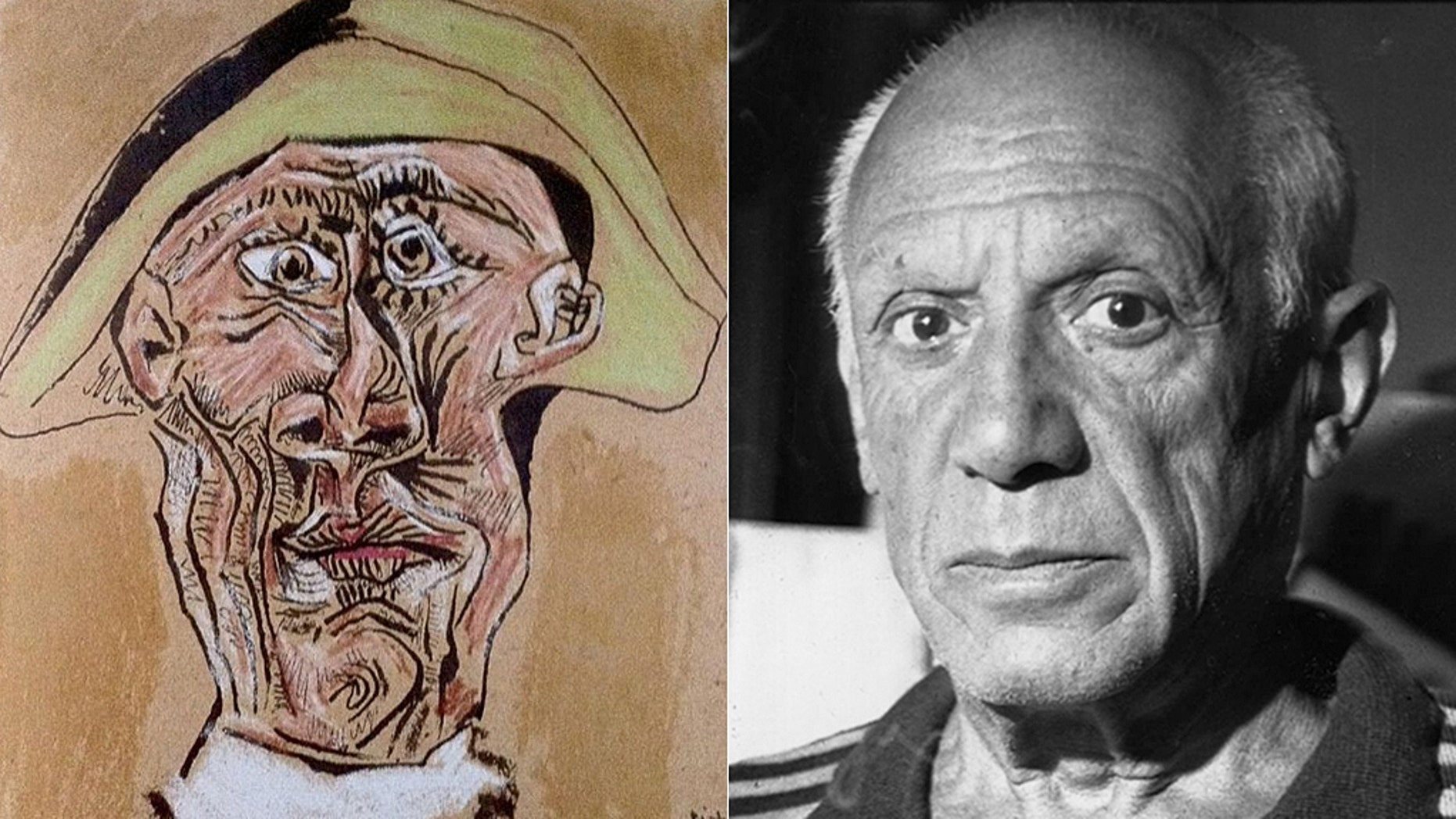 """Picasso's 1971 """"Tête d'Arlequin"""" (""""Harlequin's Head"""") which was stolen from Rotterdam's Kunsthal museum in 2012"""