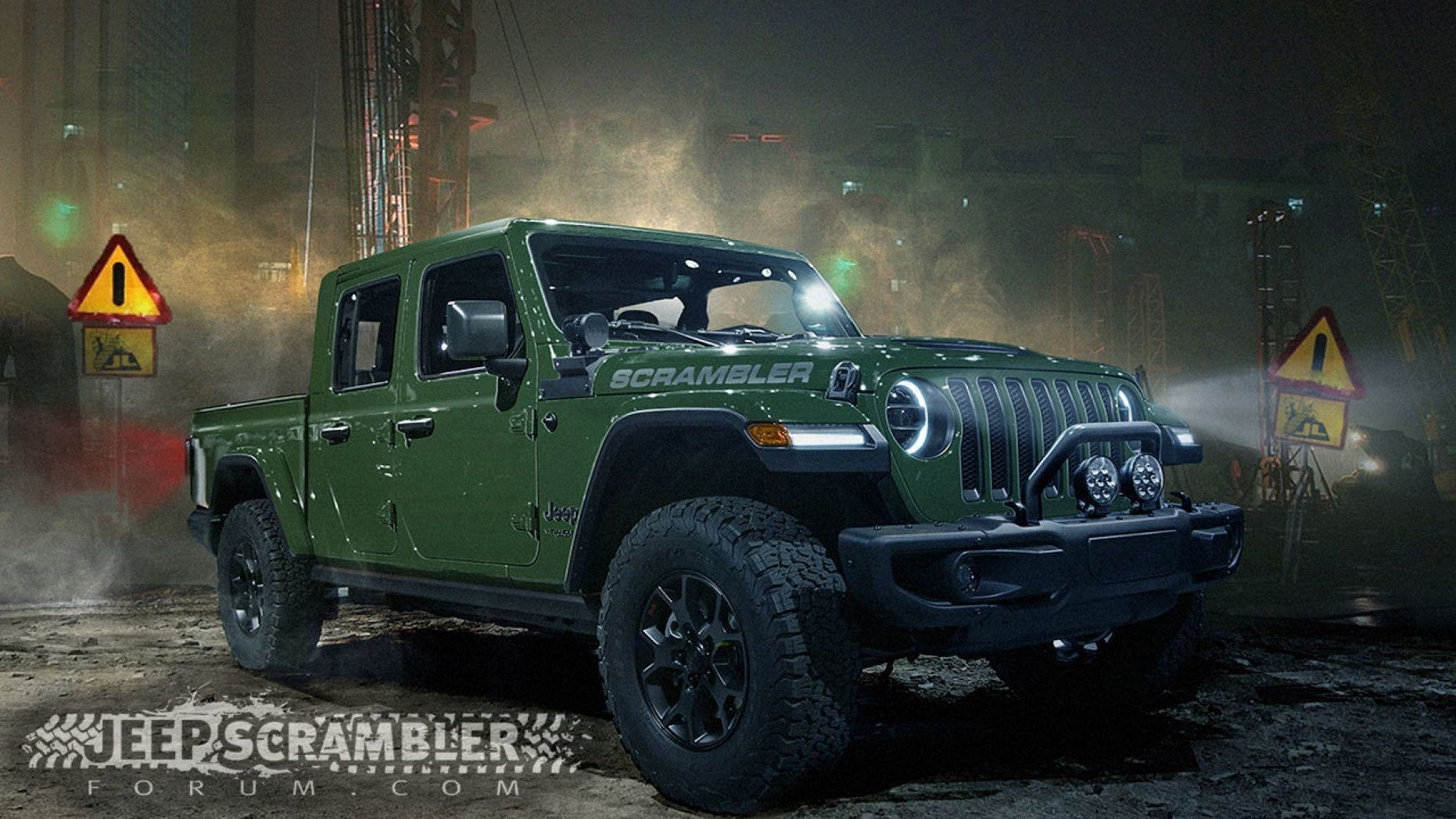 The Jeep Scrambler Forum used leaked info and photos of camouflaged prototypes to render what the truck will likely look like.
