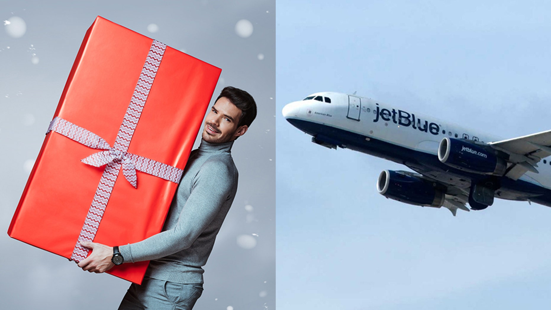 """JetBlue will turn five winners """"into literal presents"""" by gift wrapping them from head to toe and flying them to surprise their loved ones on Dec. 24."""