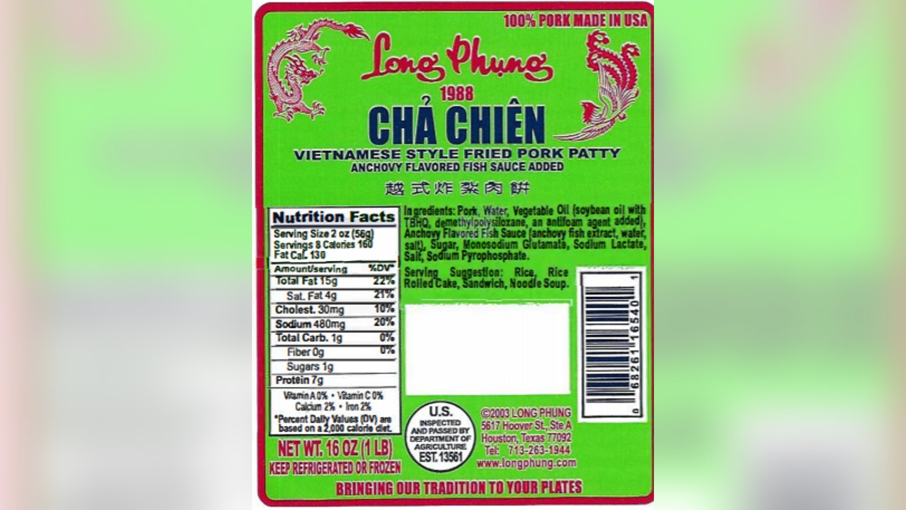 As of Nov. 20, at least four consumers who ate food from stores that also sell Long Phung's anchovy-marinated pork patty rolls were sickened and required hospitalization.