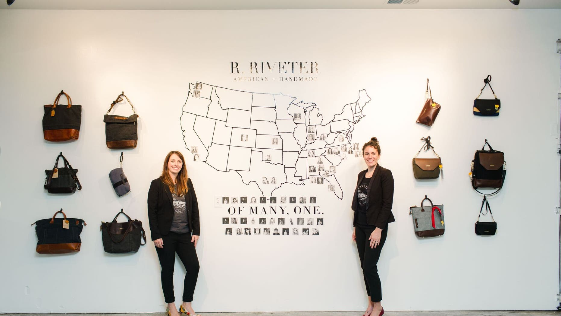 The founders of R. Riveter, Lisa Bradley (L) and Cameron Cruse (R) with a selection of their products. Credit: R. Riveter