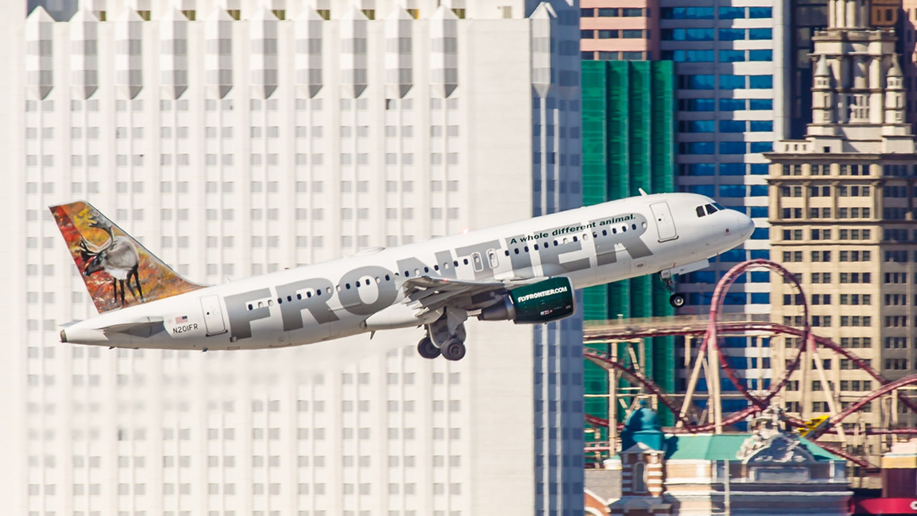 A Frontierplane had to make an emergency landing in Las Vegas after a piece of the engine cover broke off.