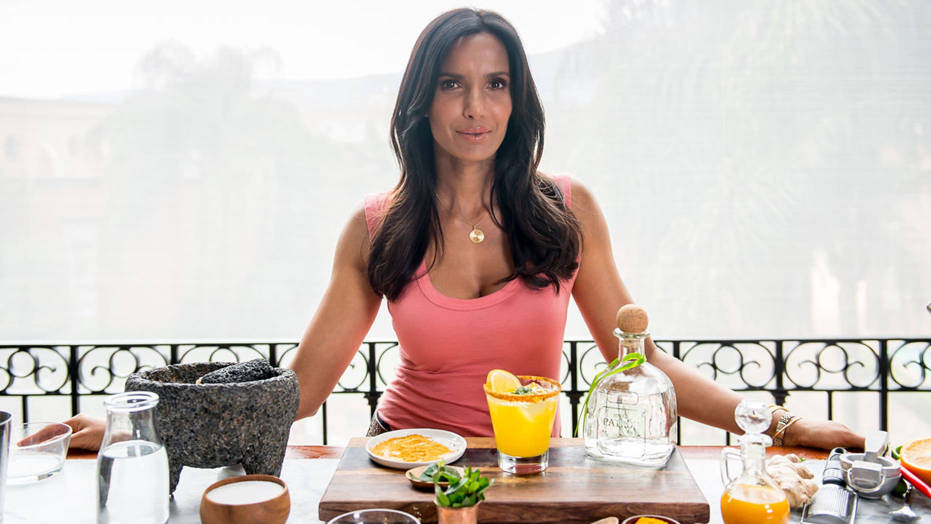 'Top Chef's' Padma Lakshmi shakes up a plain margarita with spicy ginger and fragrant turmeric.