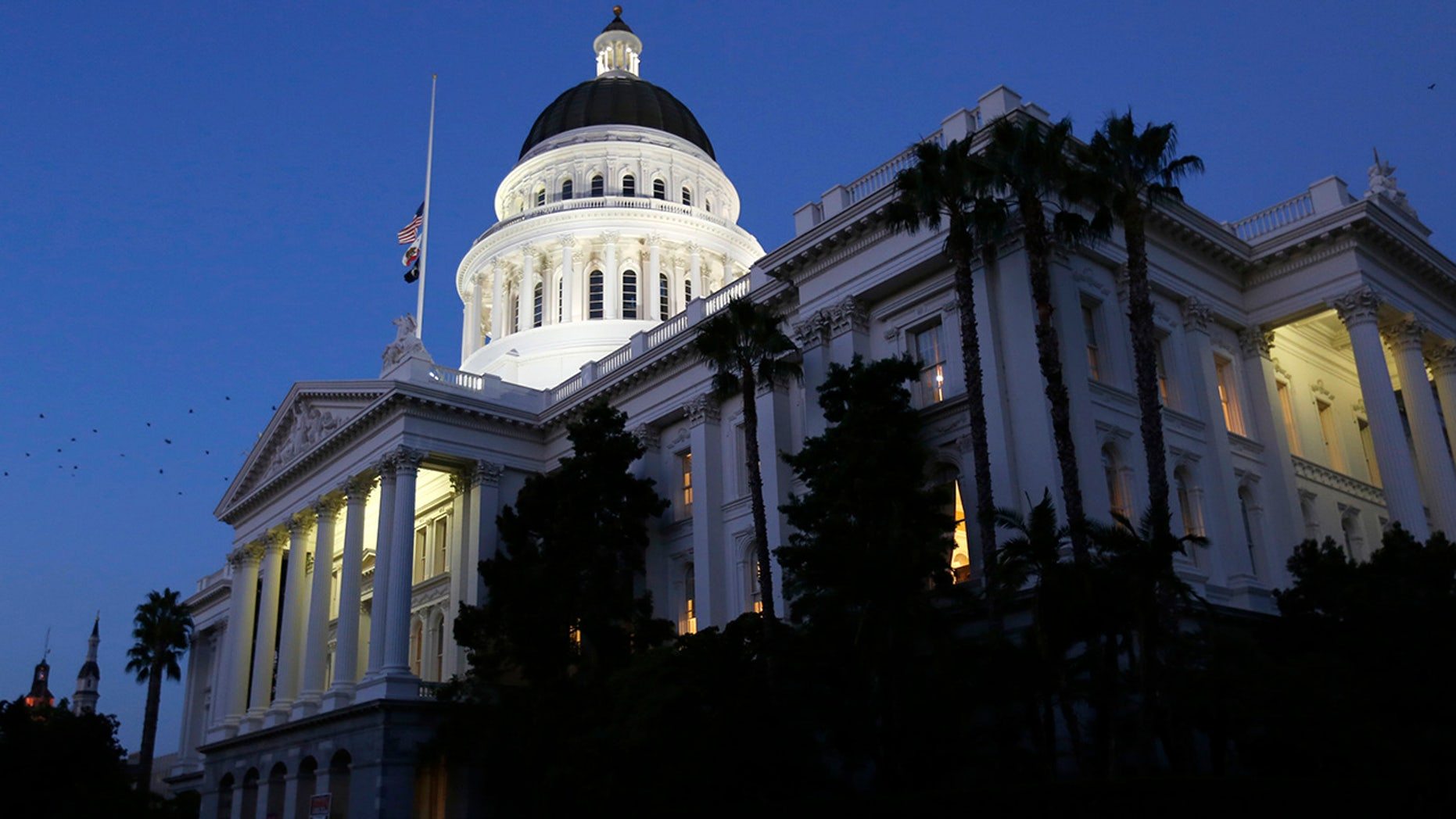 "The grounds outside the California state Capitol in Sacramento, seen Aug. 31, 2018, are expected to be the site of Sunday's ""Turn California Red"" rally. (Associated Press)"