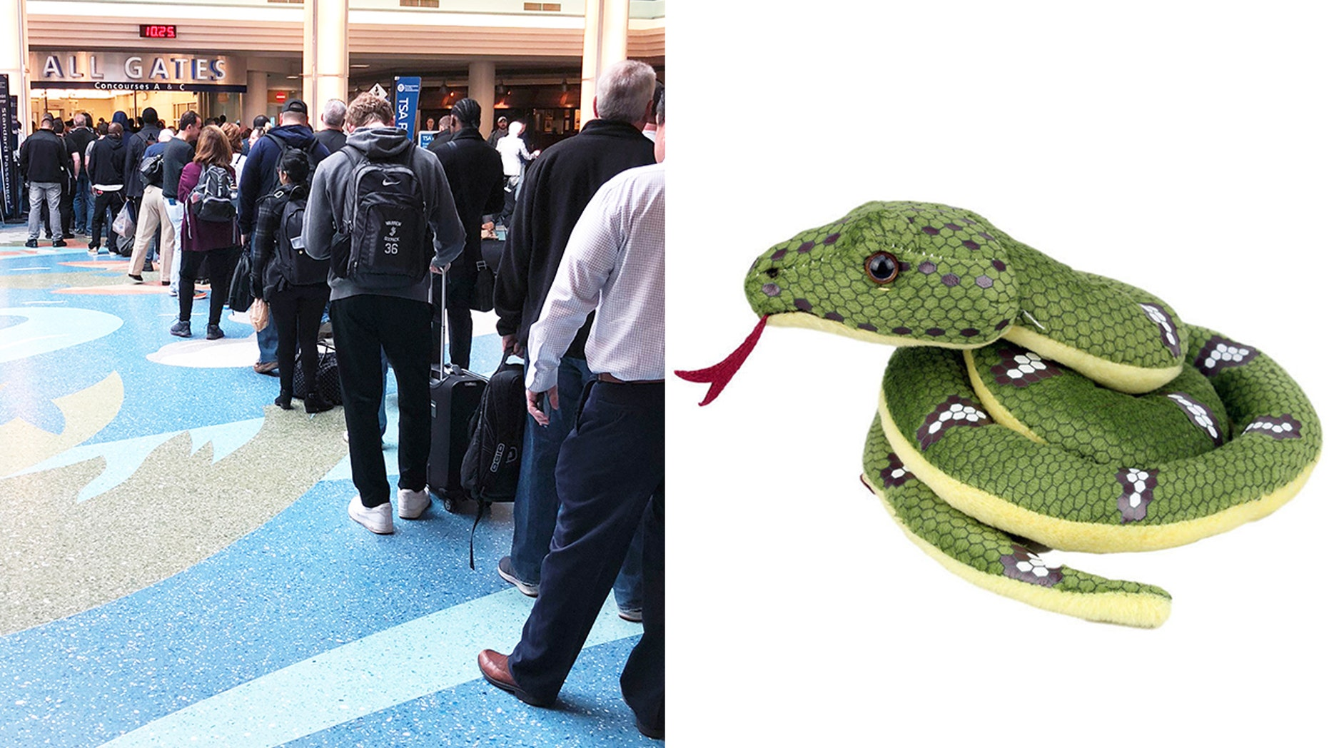 A five-year-old boy had to leave behind his beloved snake toy becausethe airport allegedly wouldn't let him fly with it.