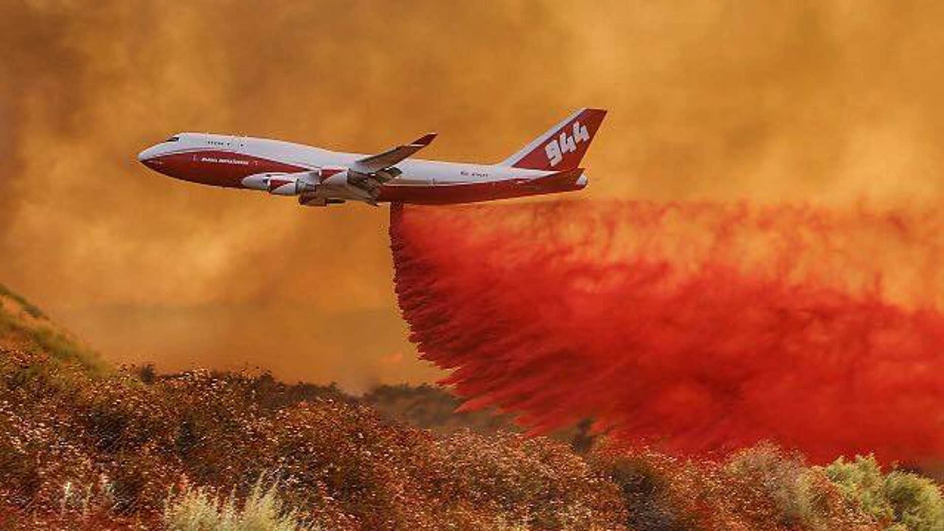 The Global SuperTanker, a modified Boeing 747-400, can carry 18,000 gallons of fire retardant. (Facebook)